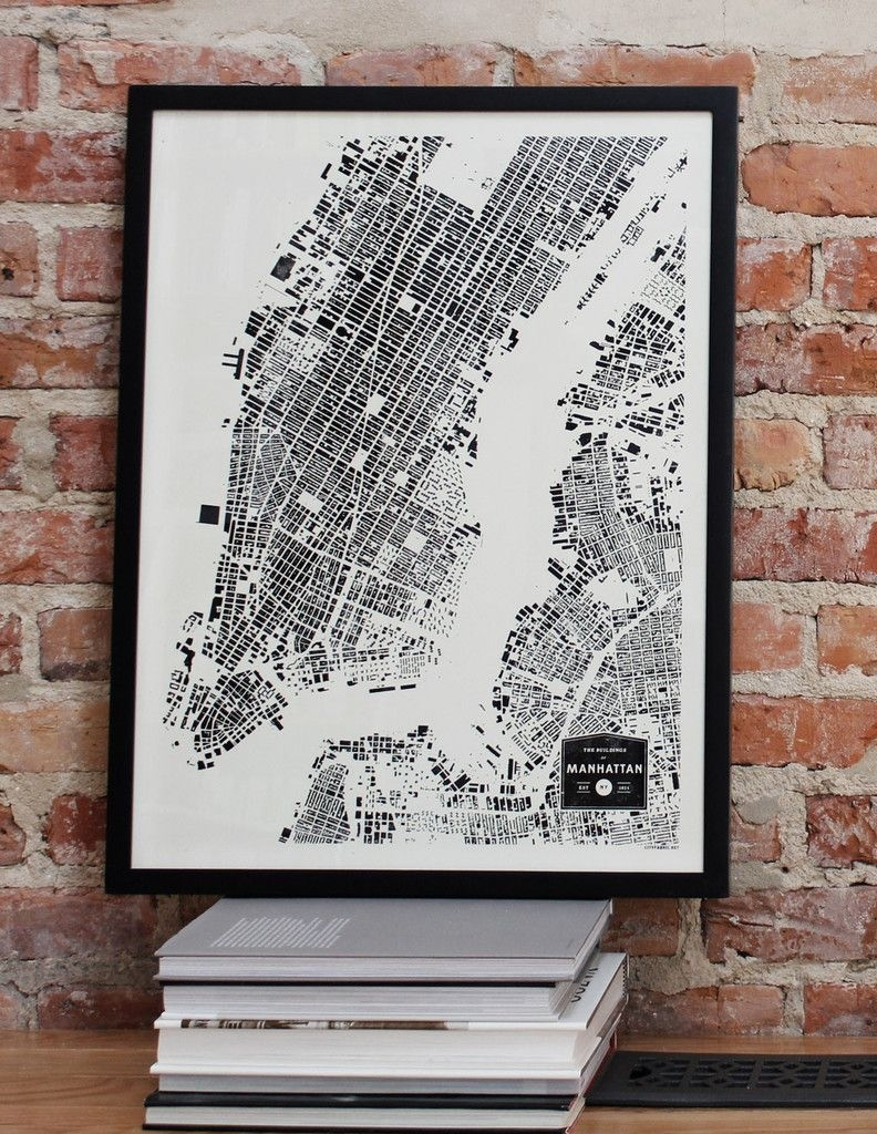 Manhattan New York City Nyc City Map Print Ny Buildings Architecture With New York City Map Wall Art (View 13 of 20)