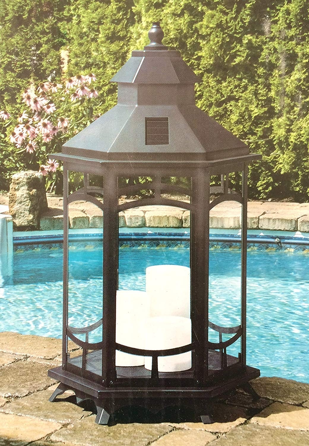Manor House Oversized 33 In. Tall Extra Large Solar Lantern With 3 X intended for Outdoor Oversized Lanterns (Image 11 of 20)