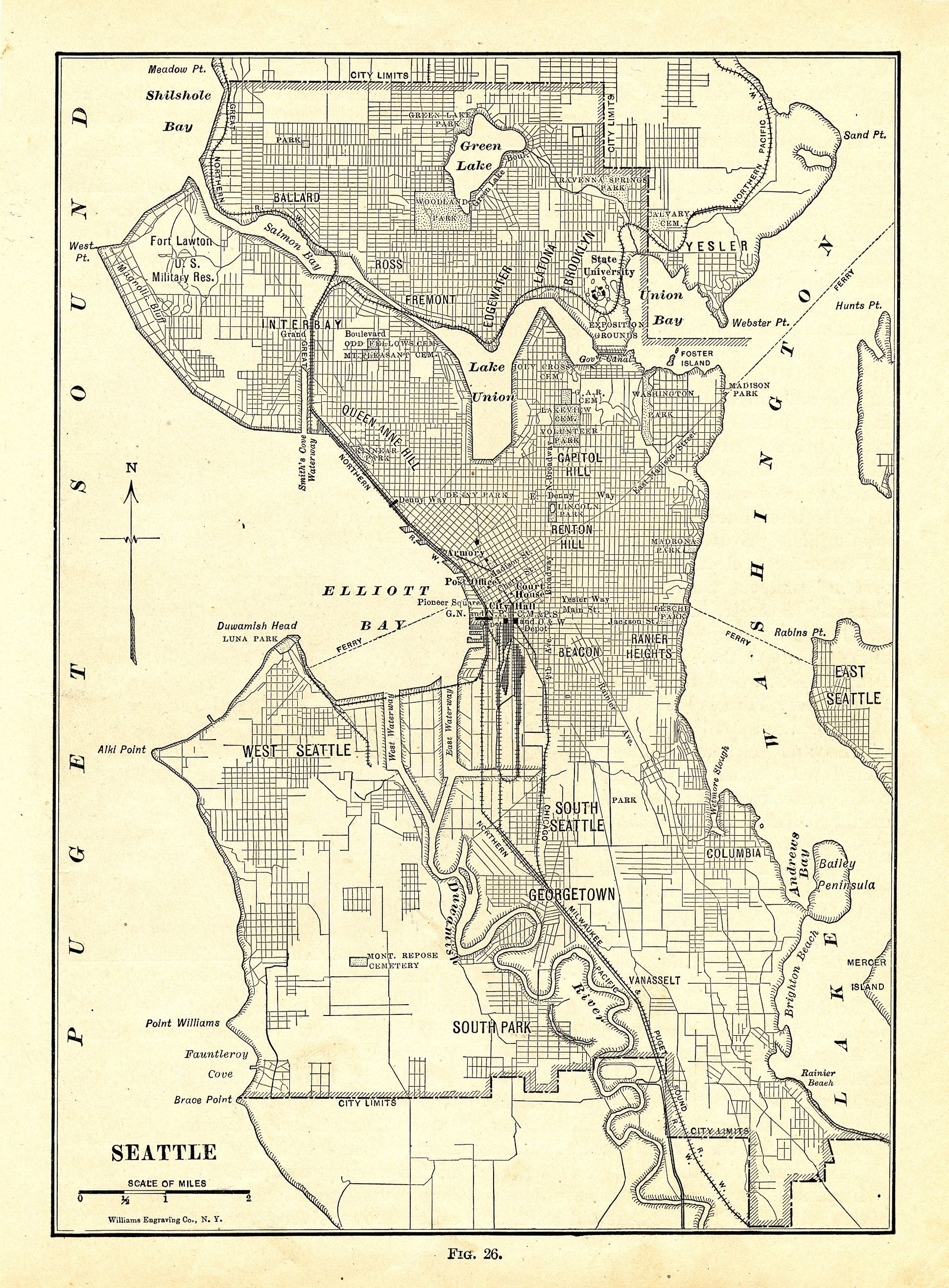 Map Of Seattle | Description Map Of Seattle 1914 | Seattle Maps With Regard To Seattle Map Wall Art (View 11 of 20)