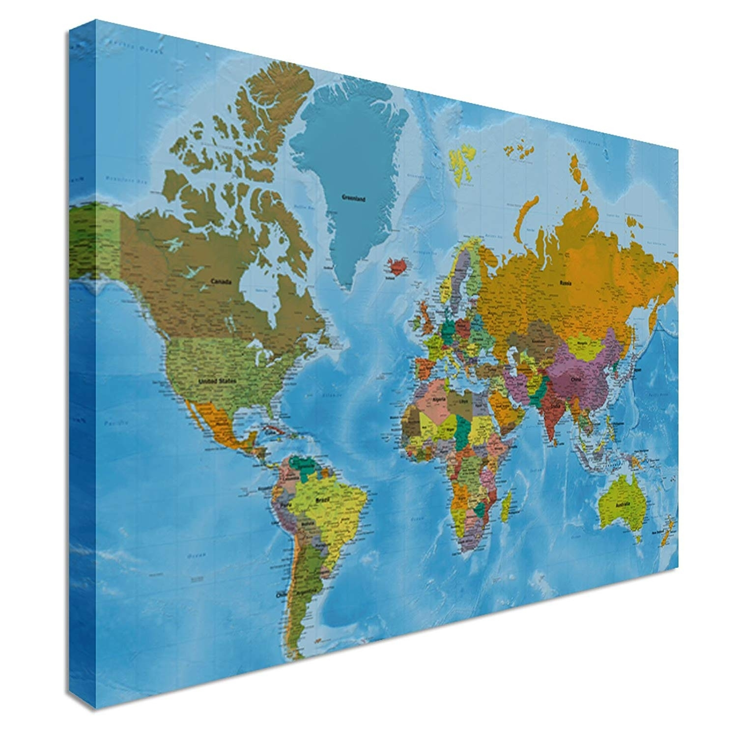 Map Of The World Canvas Art Print, 22x34 Inch (a1) – 298: Amazon (View 8 of 20)