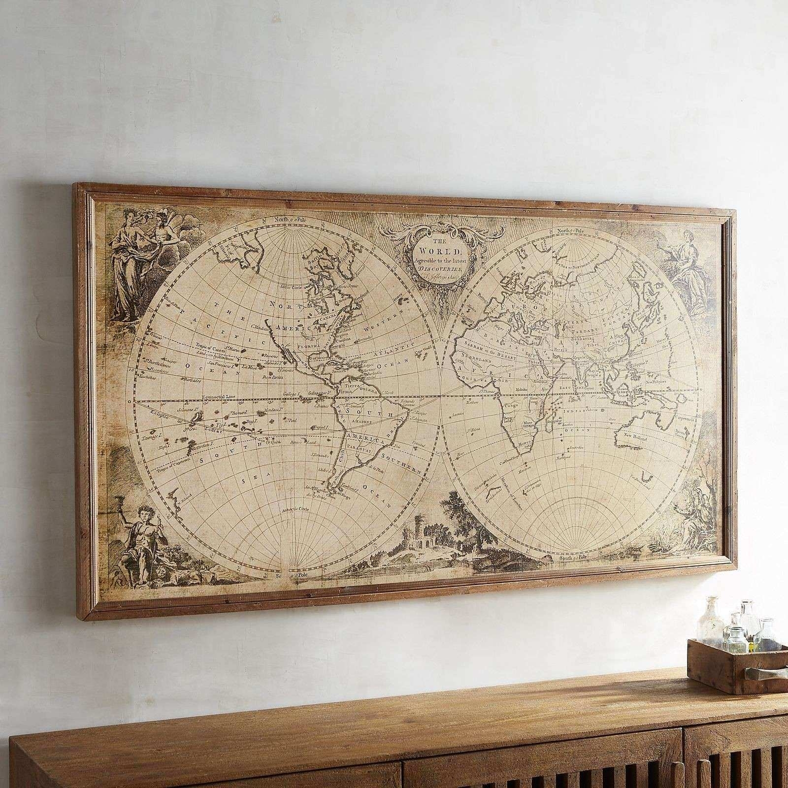 Map Wall Decor Inspirational World Map Wall Decor Roundtripticket throughout World Map For Wall Art (Image 7 of 20)