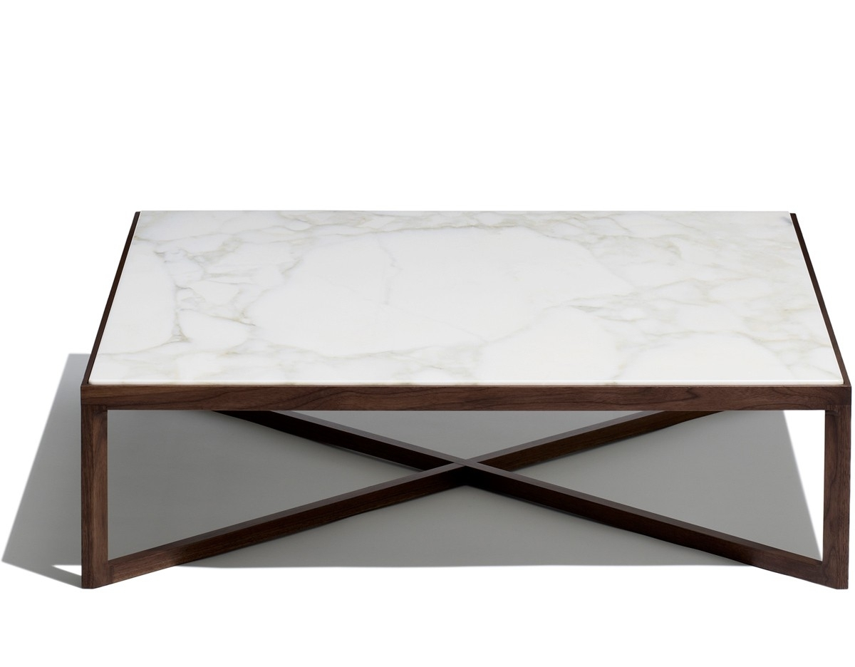 Marble And Wood Coffee Tables Krusin Square Table Hivemodern Com pertaining to Suspend Ii Marble and Wood Coffee Tables (Image 16 of 30)