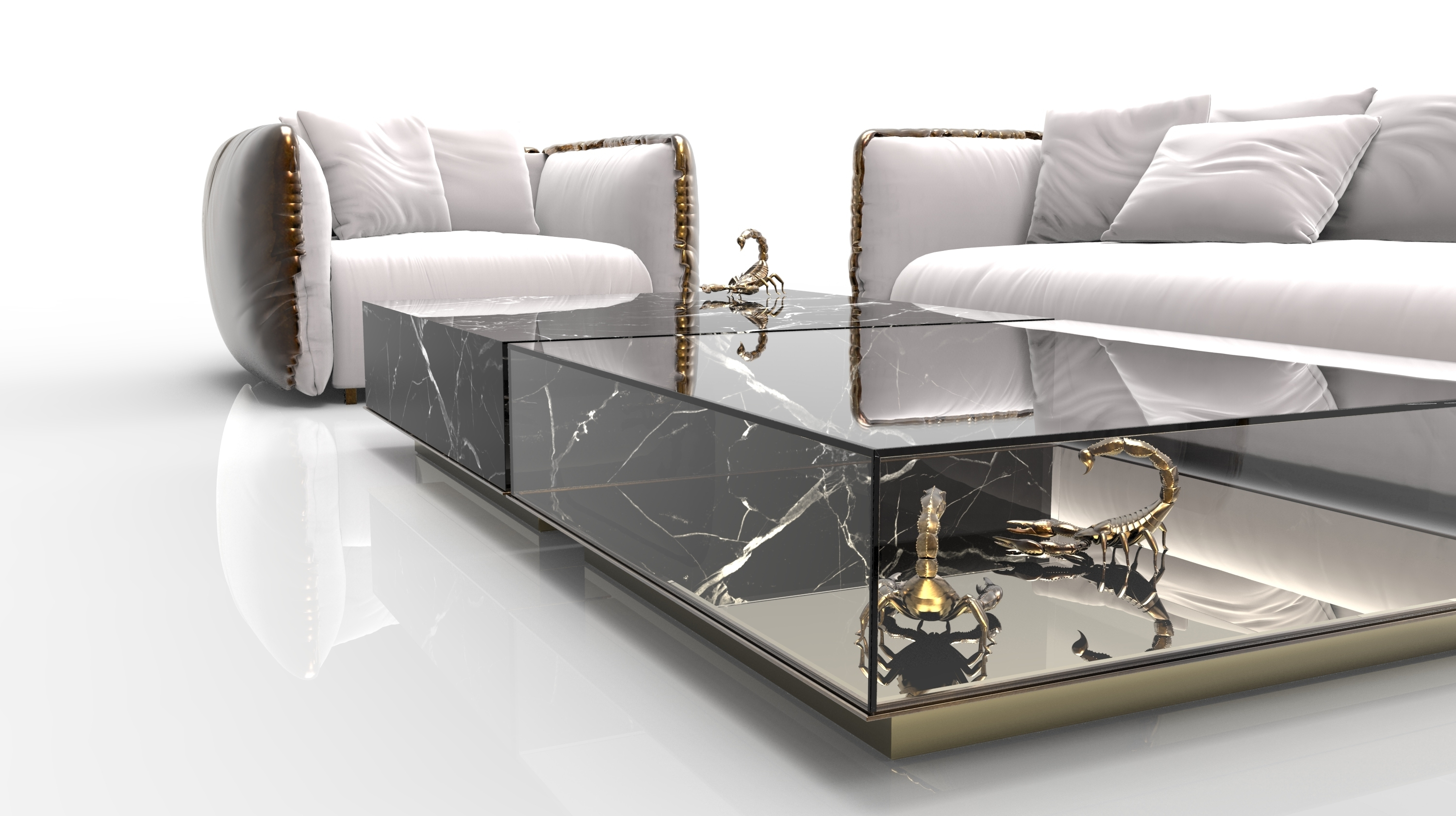 Marble Coffee And Side Table Designs On Home Interiors regarding 2 Tone Grey And White Marble Coffee Tables (Image 17 of 30)
