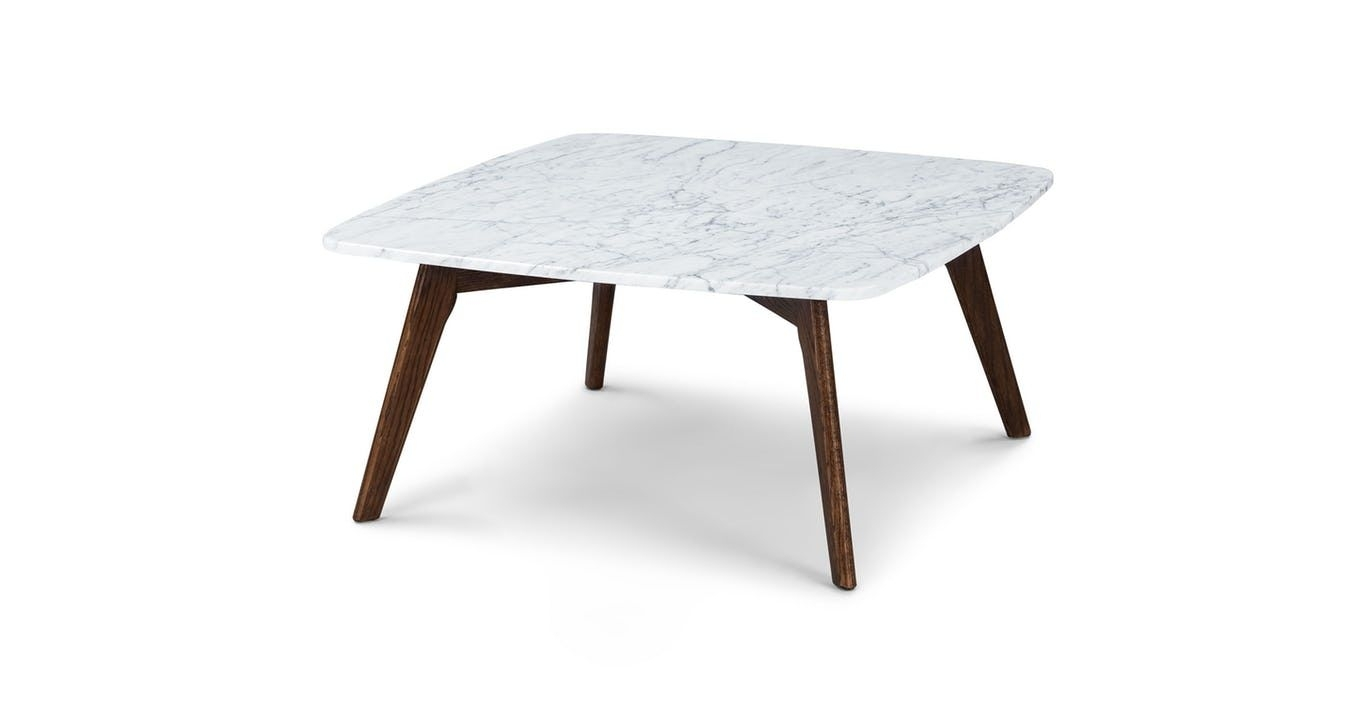 Marble Coffee Table, Square, Solid Oak Legs | Article Vena Modern with regard to Chiseled Edge Coffee Tables (Image 16 of 30)