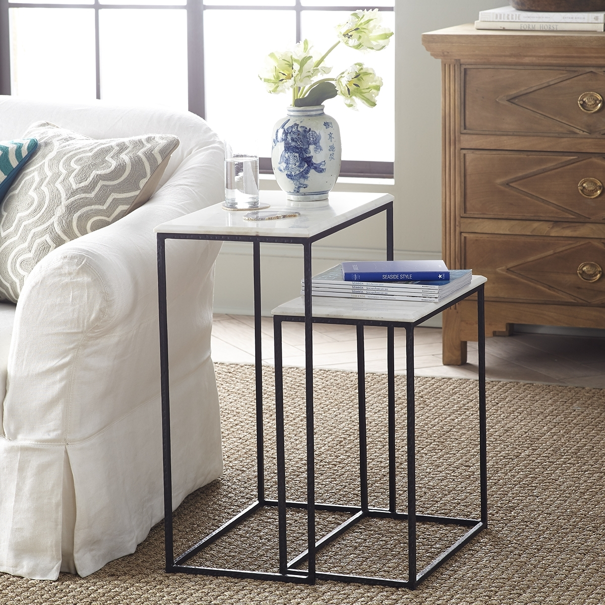 Marble Nesting Side Tables - Set Of 2 | Wisteria regarding Set of Nesting Coffee Tables (Image 18 of 30)