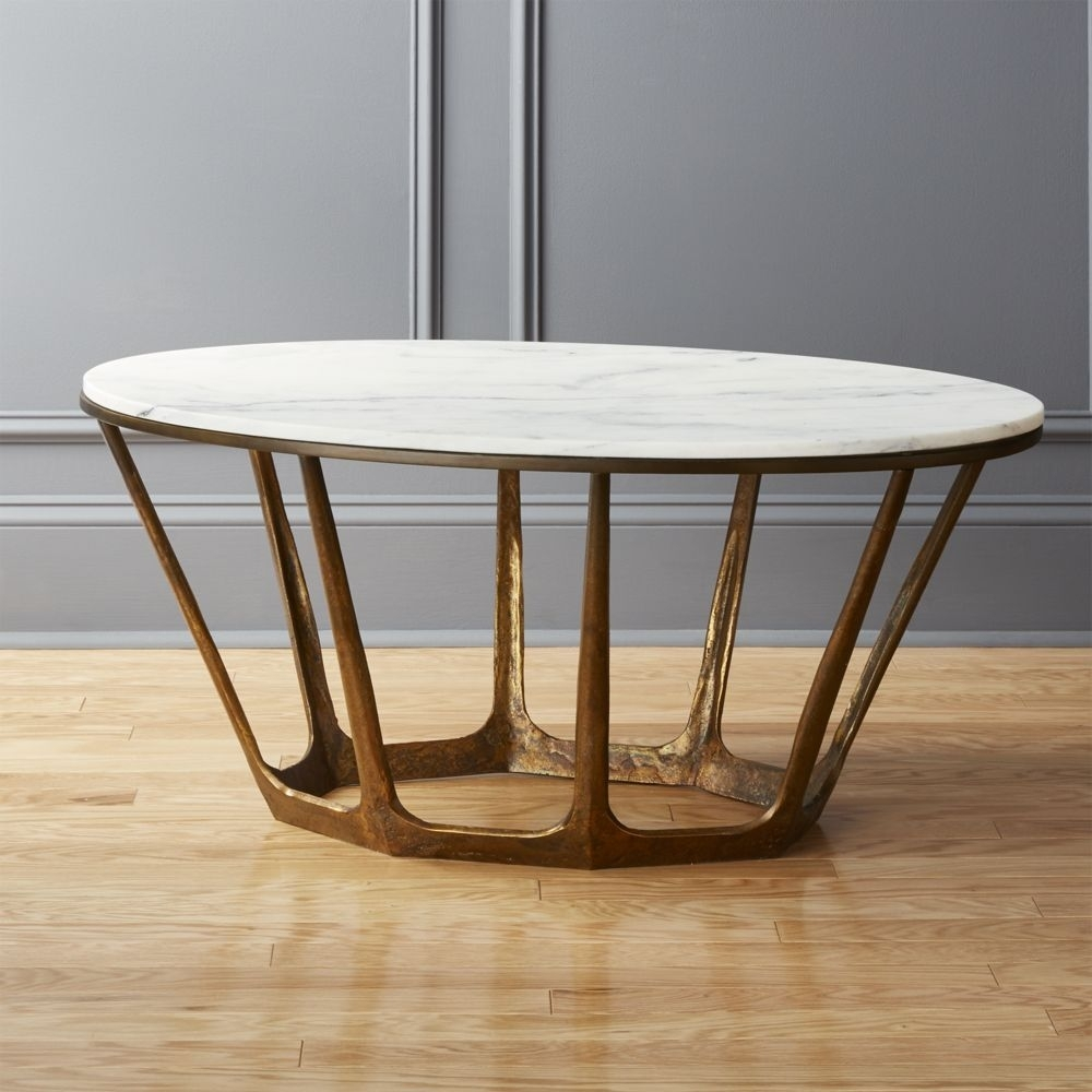 Marble-Topped Pedestal Coffee Table - White Marble/antique regarding Parker Oval Marble Coffee Tables (Image 12 of 30)