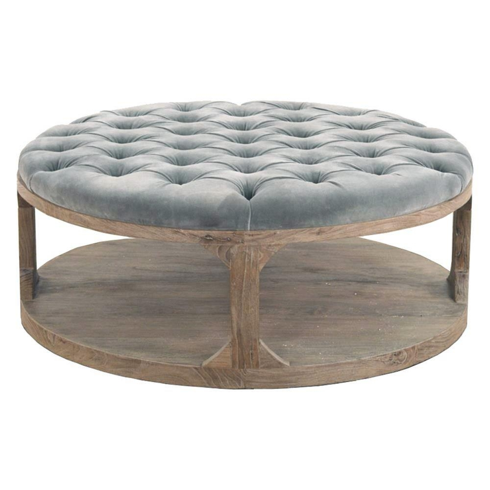 Marie French Country Round Grey Tufted Wood Coffee Table | Kathy Kuo pertaining to Round Button Tufted Coffee Tables (Image 15 of 30)