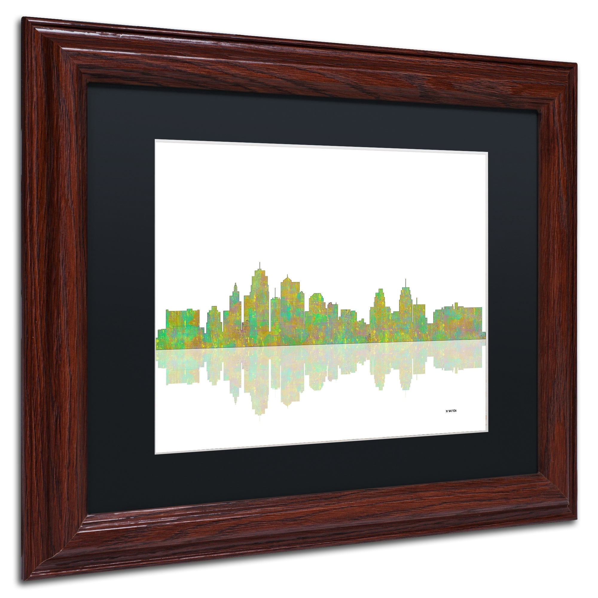 Marlene Watson 'kansas City Missouri Skyline' Black Matte, Wood in Kansas City Wall Art (Image 17 of 20)