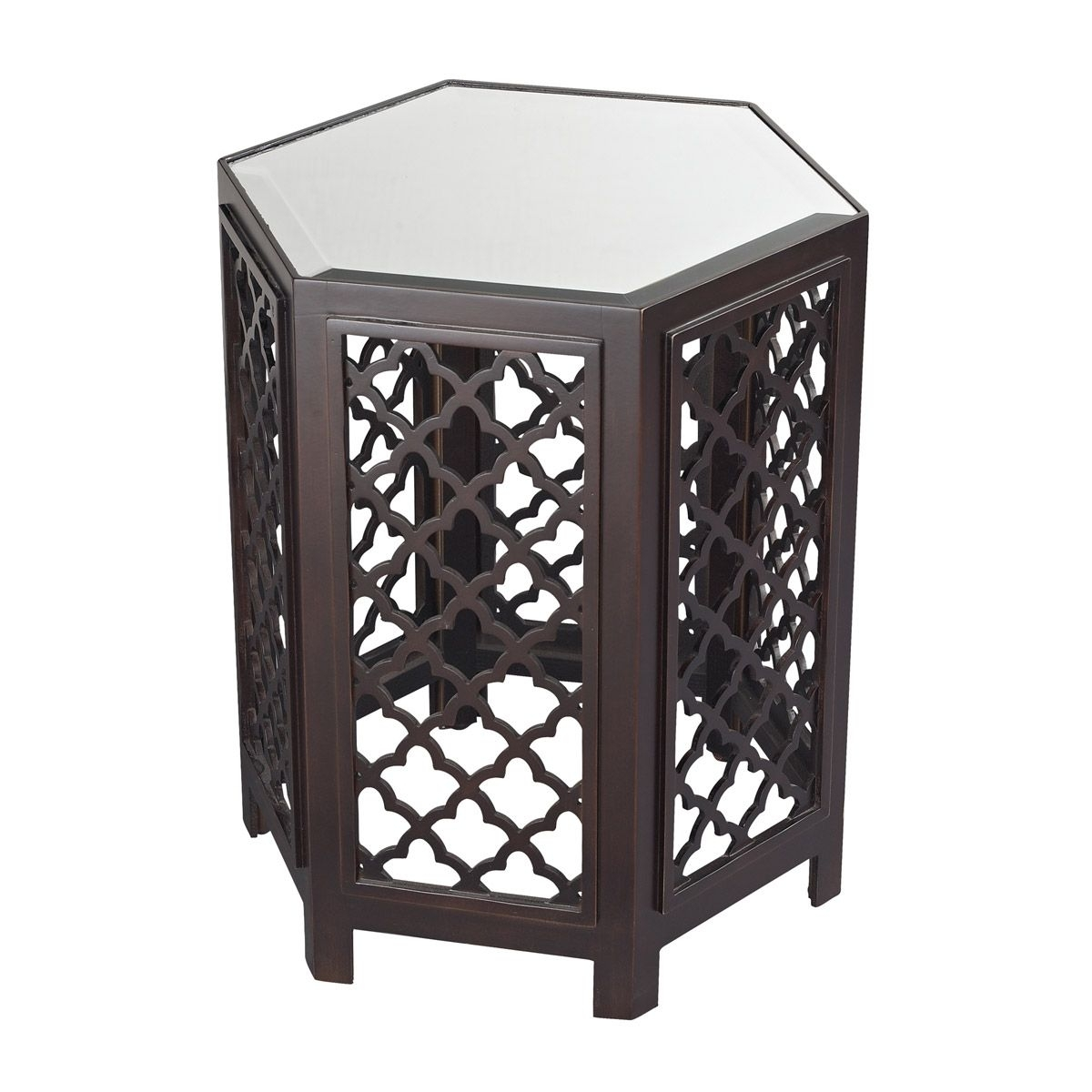 Marrakesh-Moorish Pattern Side Table With Mirrored Top | Sterling intended for Marrakesh Side Tables (Image 23 of 30)