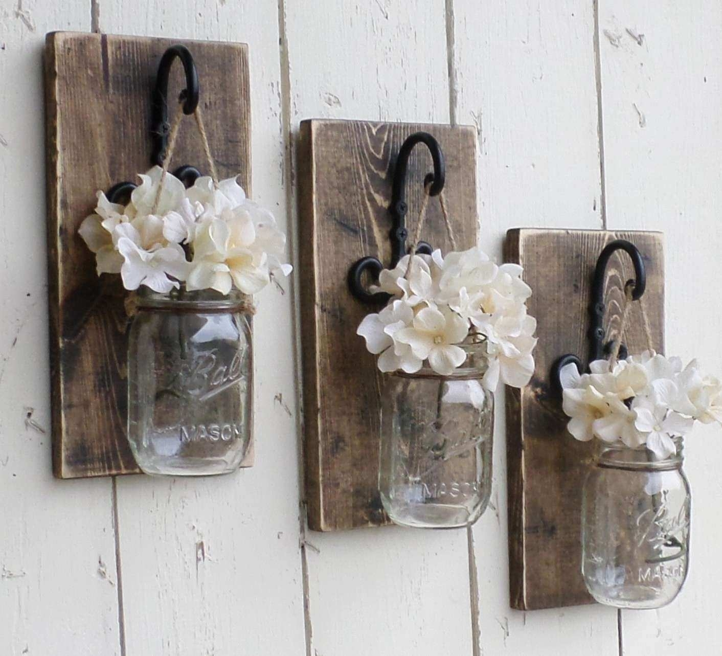 Mason Jar Wall Art Awesome New Rustic Farmhouse Wood Wall Decor 3 pertaining to Mason Jar Wall Art (Image 11 of 20)