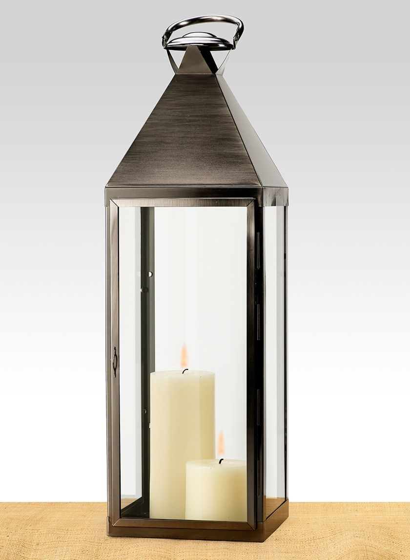 Matte Pewter Big Metal Square Steel Lantern Garden Outdoor Event Decor intended for Outdoor Big Lanterns (Image 12 of 20)