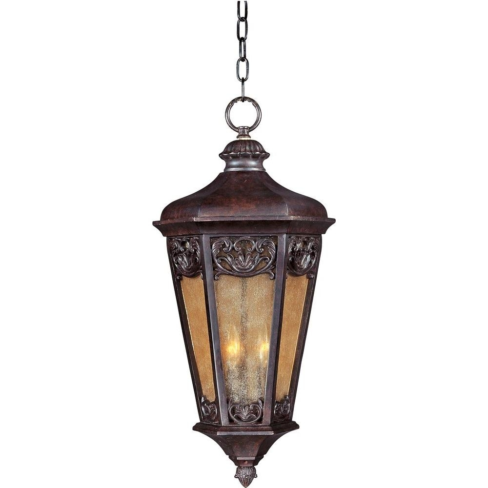 Maxim Lighting Lexington Vivex 3-Light Colonial Umber Outdoor in Outdoor Hanging Electric Lanterns (Image 12 of 20)