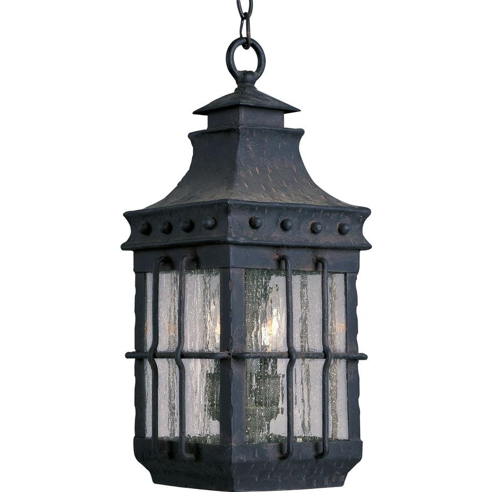 Maxim Lighting Nantucket 3-Light Country Forge Outdoor Hanging for Outdoor Lanterns Lights (Image 8 of 20)