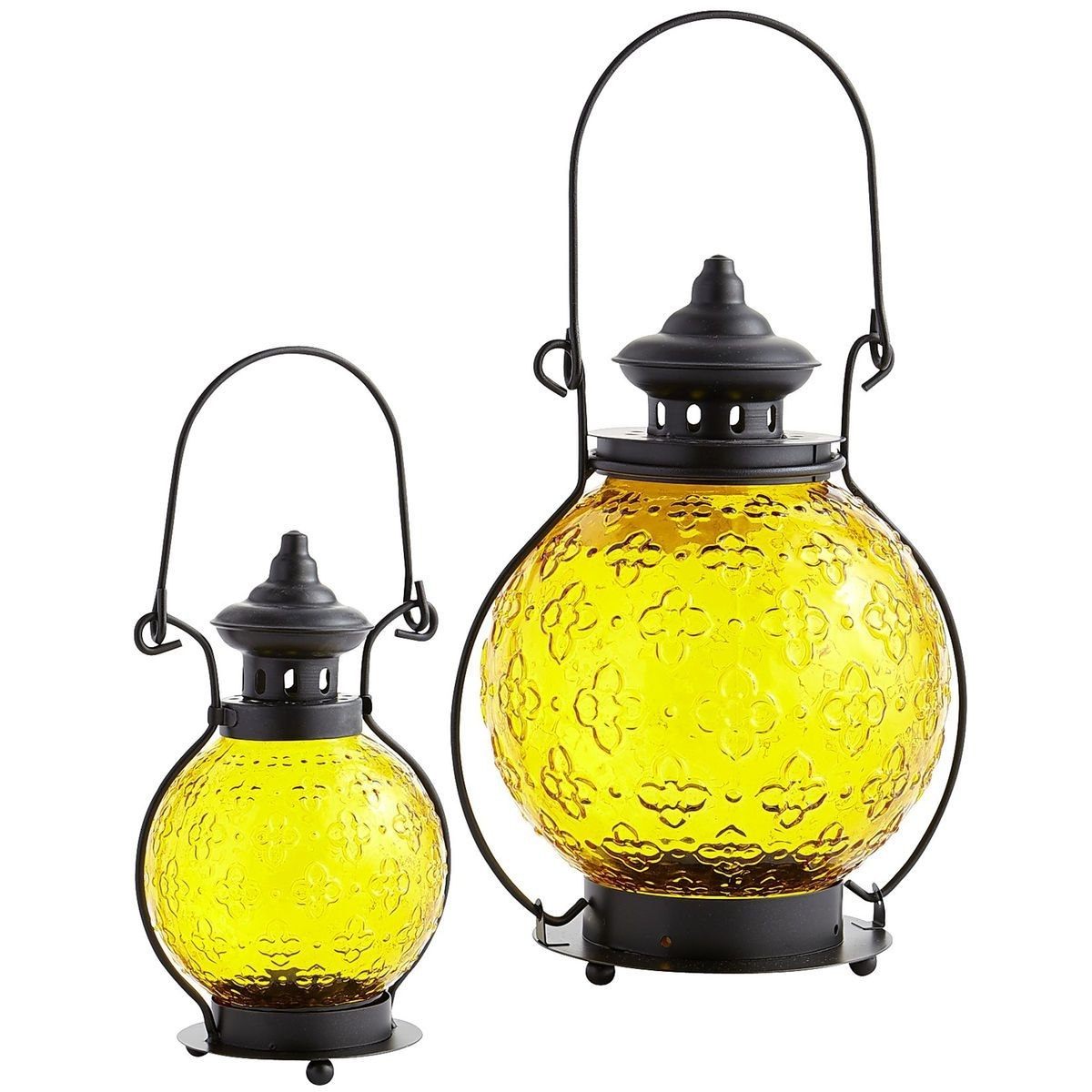 Medallion Glass Lanterns - Yellow | Pier 1 Imports | Outdoor Lights pertaining to Yellow Outdoor Lanterns (Image 15 of 20)