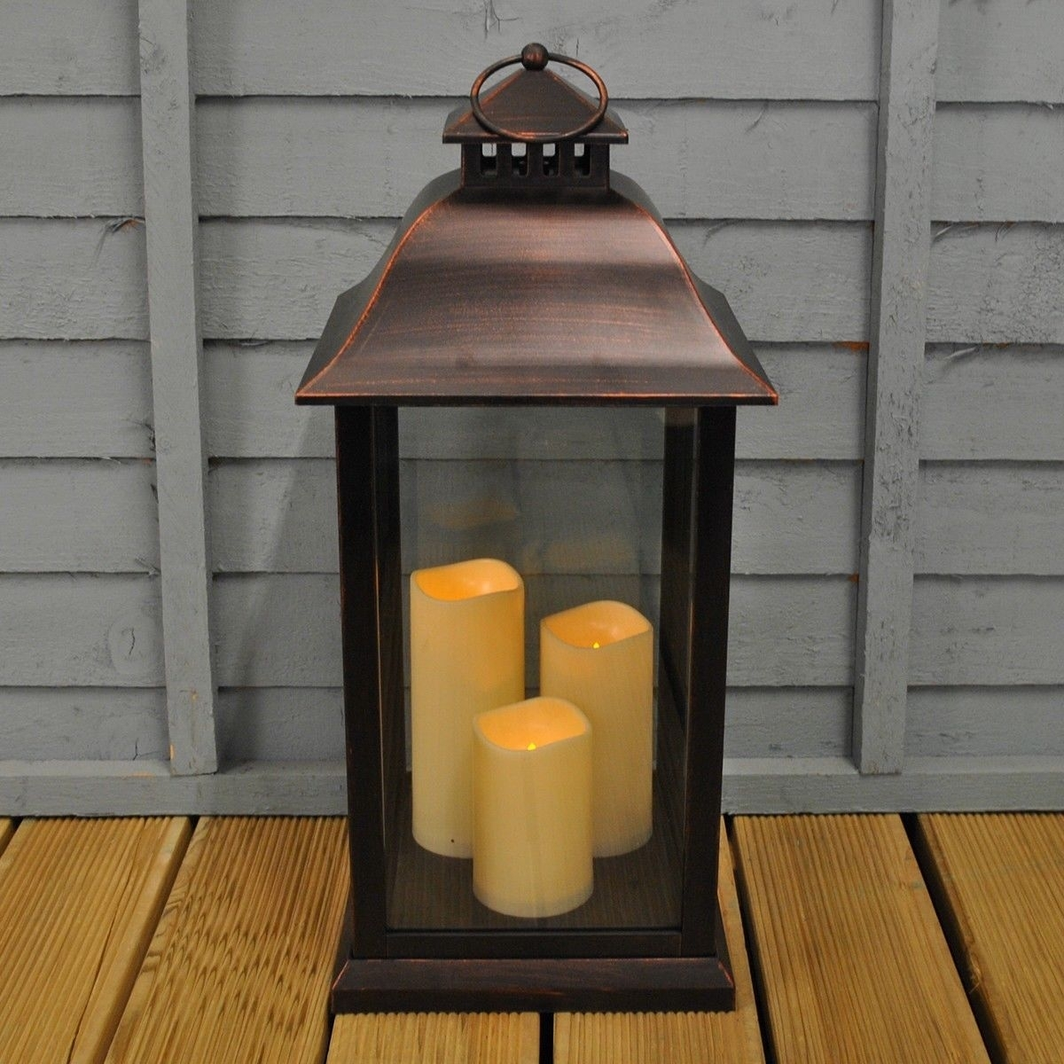 Medium Battery Operated Indoor / Outdoor Candle Lantern In Black Within Outdoor Lanterns With Battery Operated Candles (View 11 of 20)