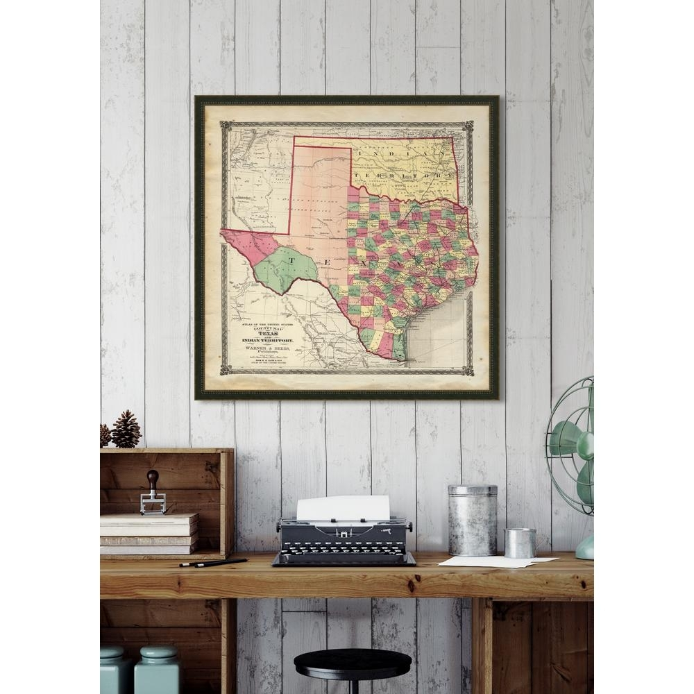 "Melissa Van Hise 32 In. X 32 In. ""vintage Map Of Texas"" Framed throughout Vintage Map Wall Art (Image 10 of 20)"