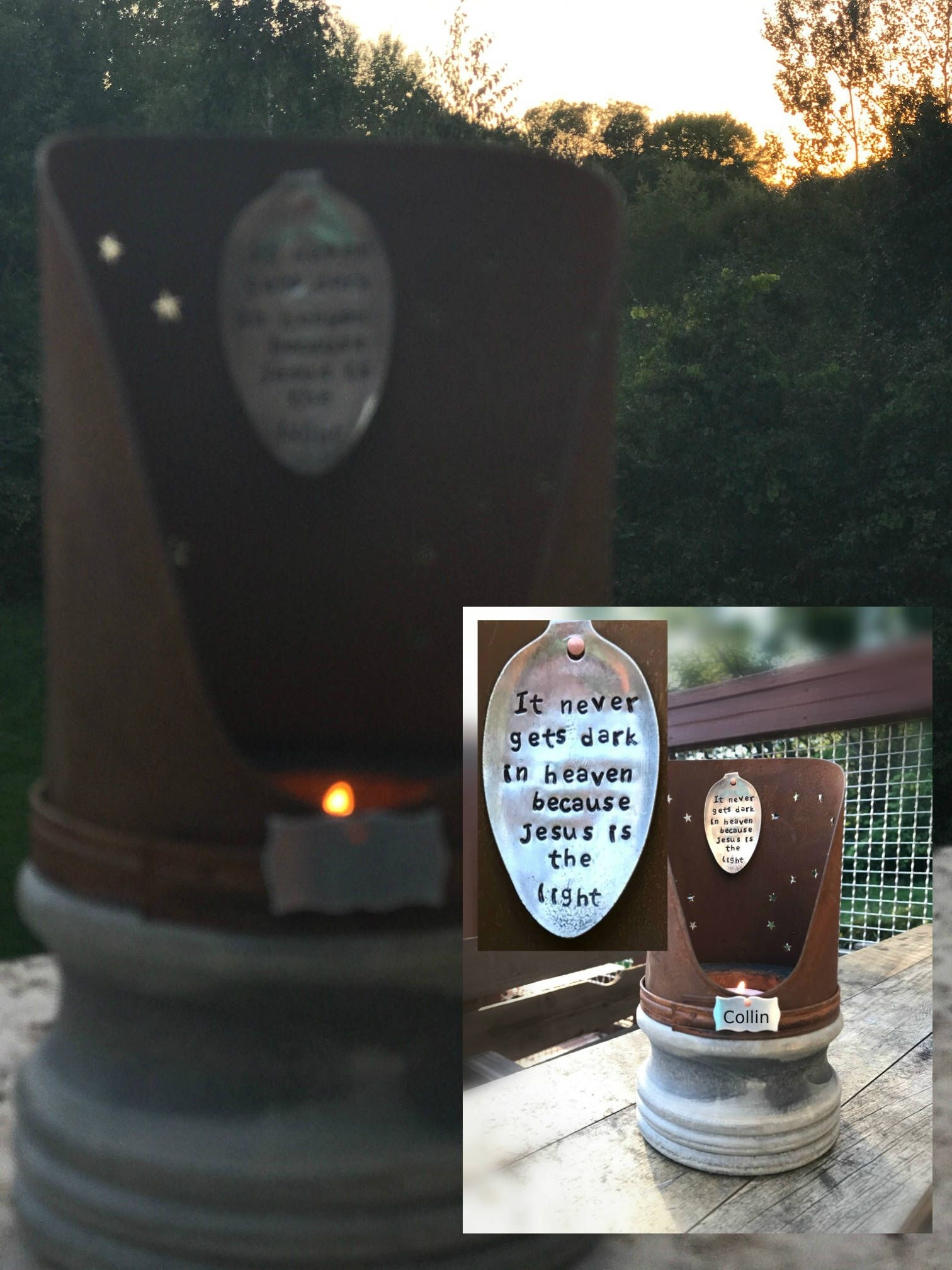Memorial Lantern Vintage Inspired Eternal Light Candle Gift Indoor for Outdoor Memorial Lanterns (Image 14 of 20)
