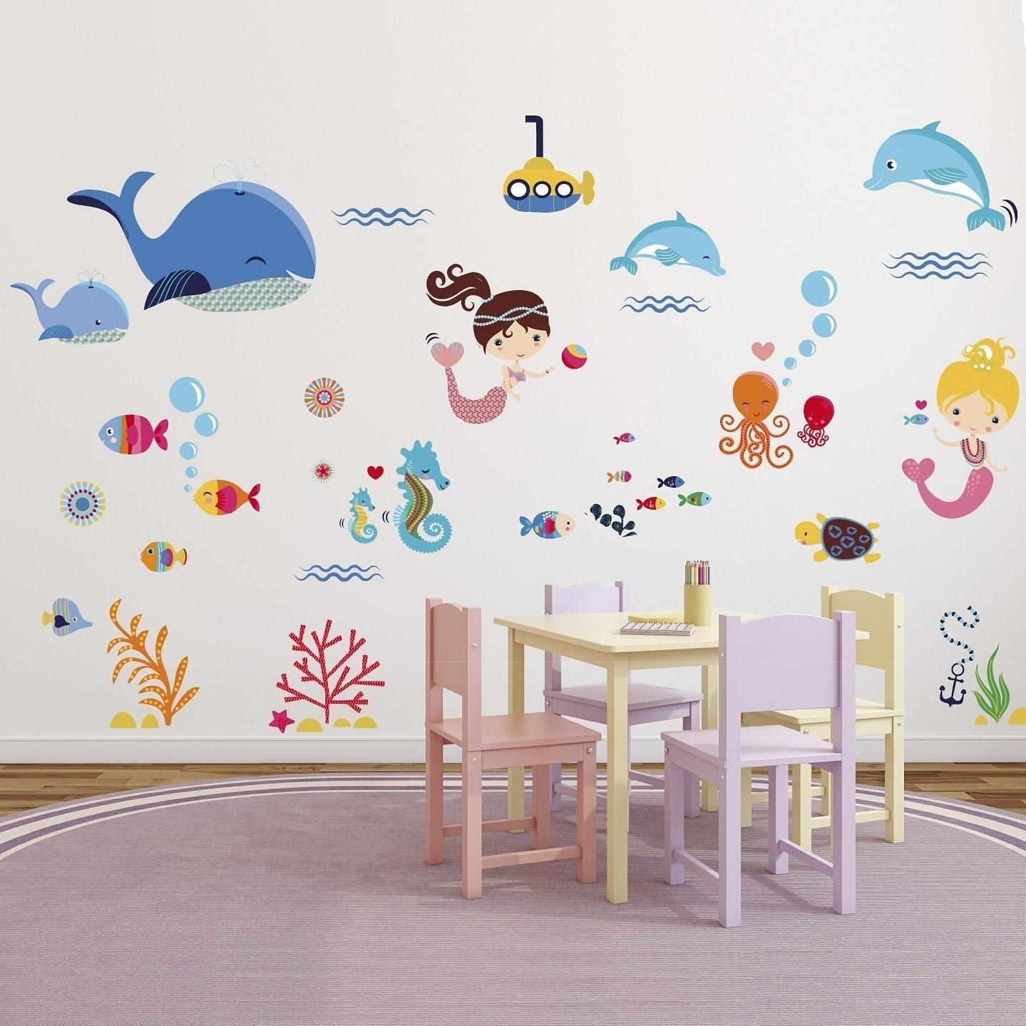 Mermaids Decorative Peel & Stick Wall Art Sticker Decals For Kids regarding Stick on Wall Art (Image 7 of 20)