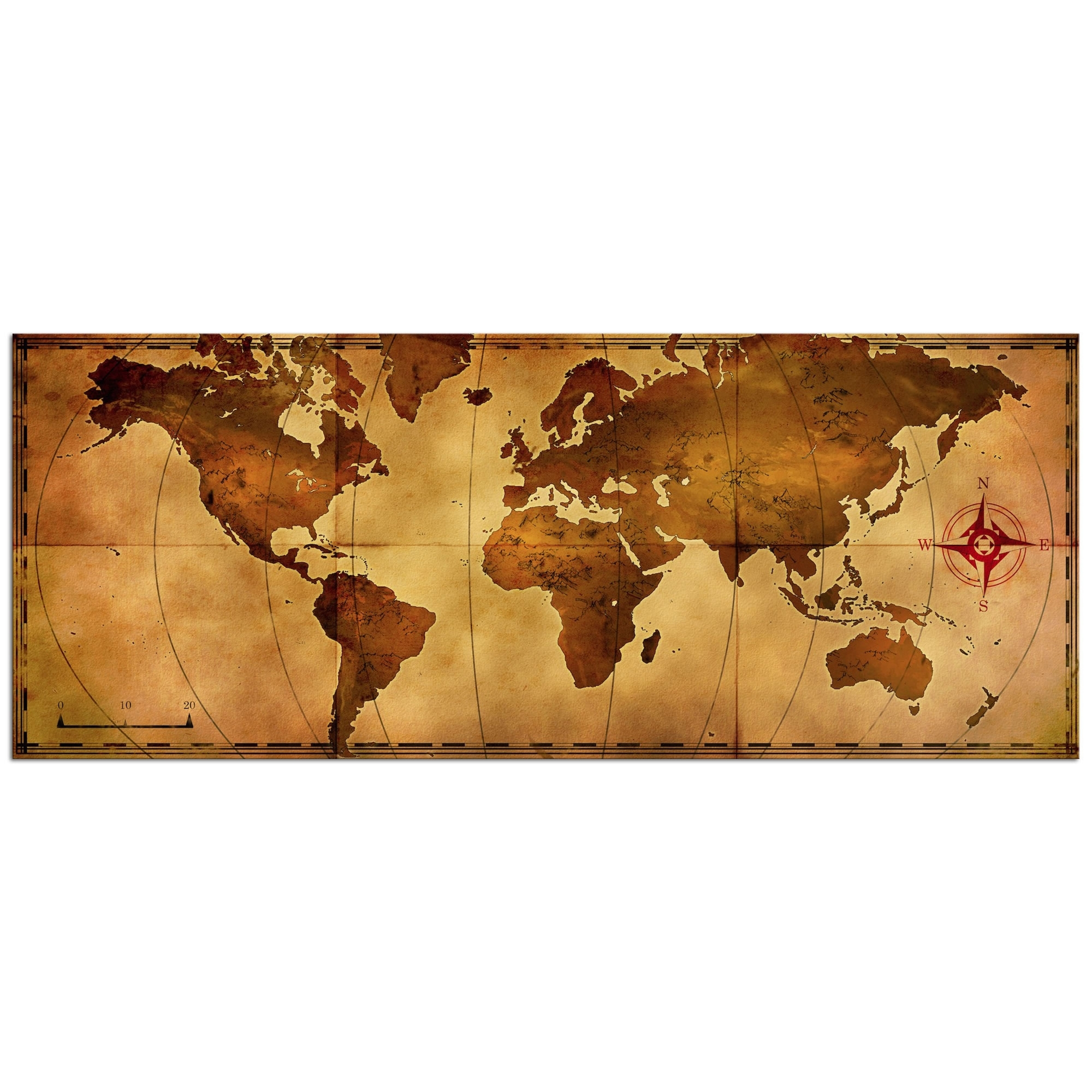 Metal Art Studio - Old World Map - Large Indoor/outdoor Modern Metal throughout Old World Map Wall Art (Image 9 of 20)