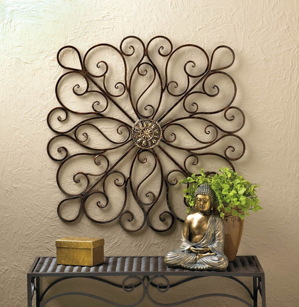 Metal Art Wall Decor, Scrollwork Modern Decorative Wrought Iron Wall inside Metal Wall Art Decors (Image 11 of 20)