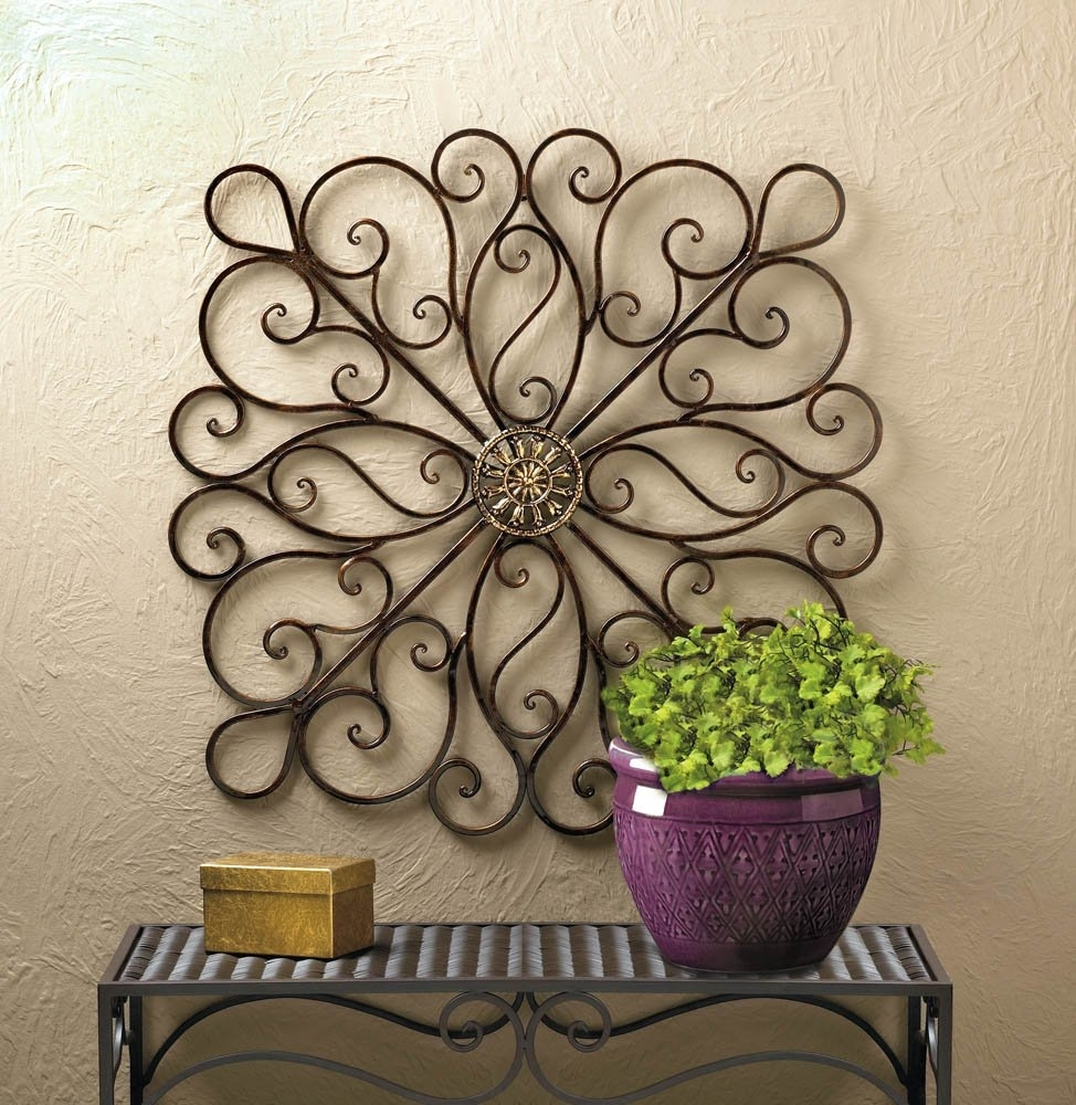 Metal Art Wall Decor, Scrollwork Modern Decorative Wrought Iron Wall with Iron Wall Art (Image 10 of 20)