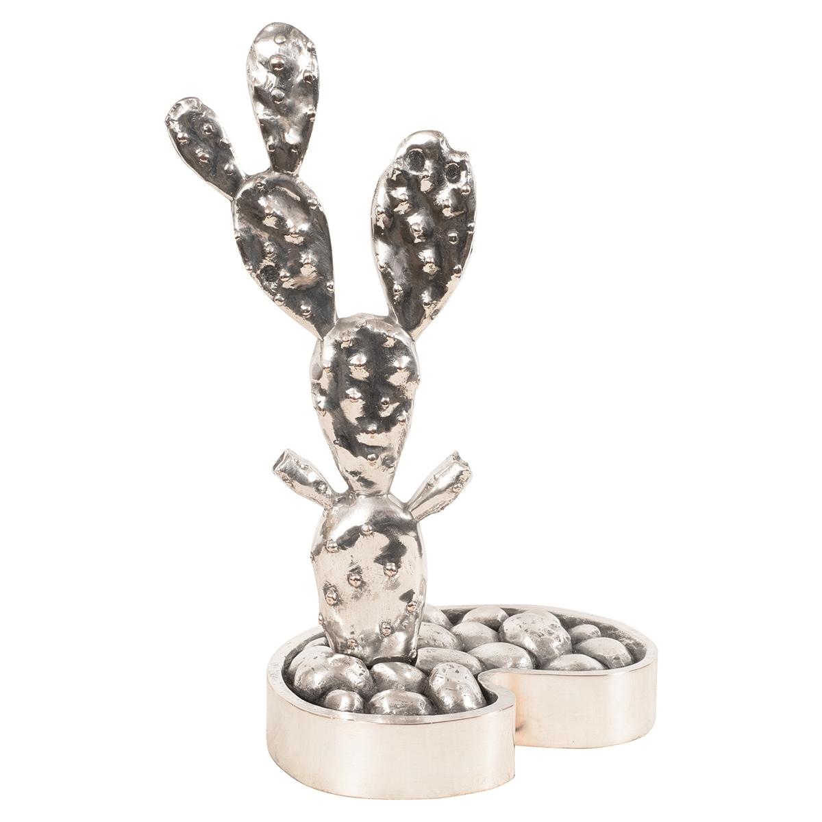 Metal Cactus Sculpture With Brass Details | Sculptures | John Salibello regarding Cacti Brass Coffee Tables (Image 21 of 30)