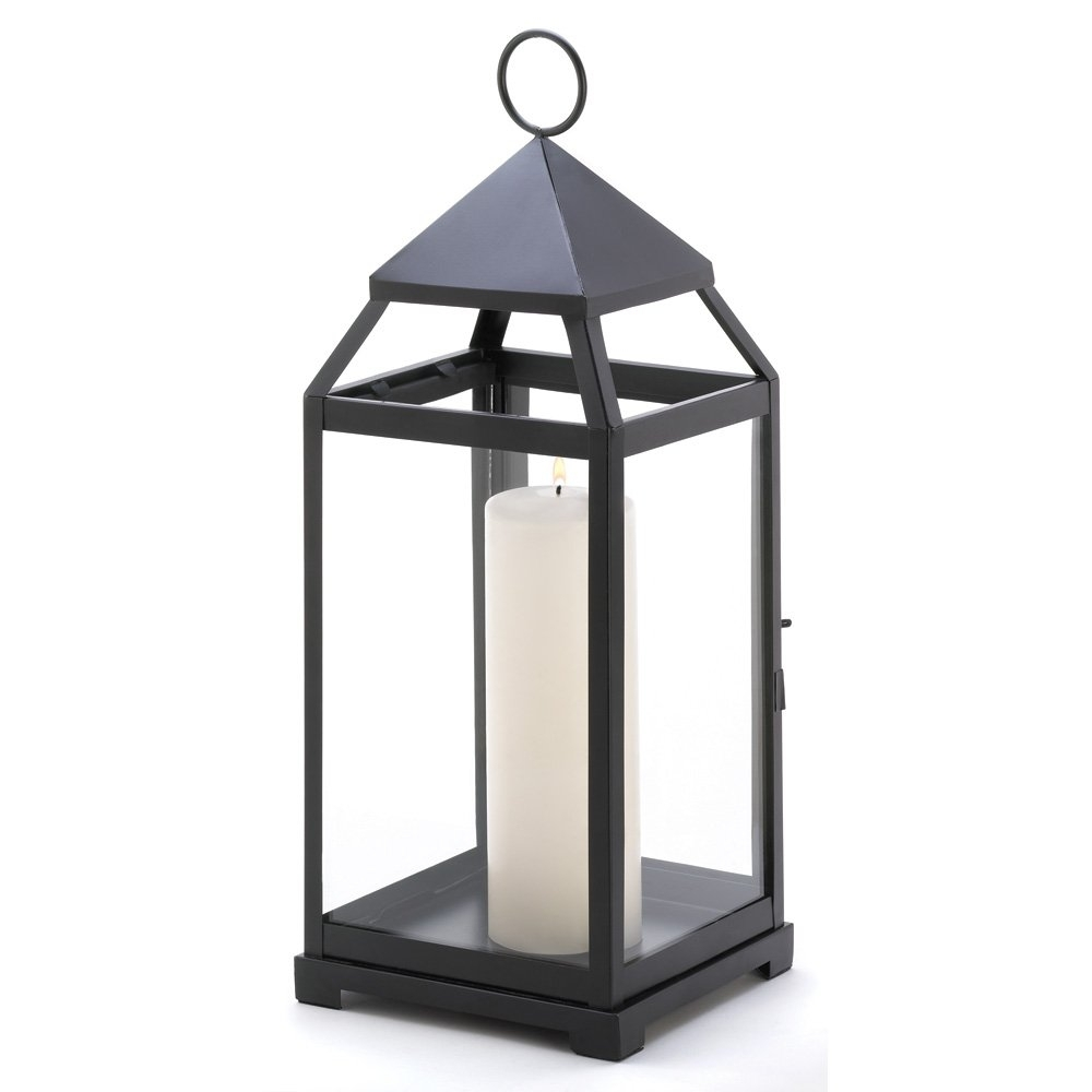 Metal Candle Lanterns, Large Iron Black Outdoor Candle Lantern For within Outdoor Metal Lanterns for Candles (Image 12 of 20)