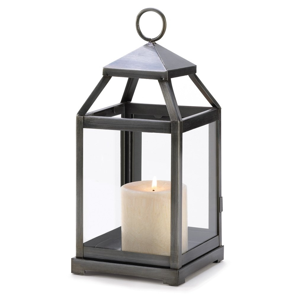 Metal Candle Lanterns, Outdoor Small Rustic Silver Metal Candle Intended For Silver Outdoor Lanterns (View 7 of 20)