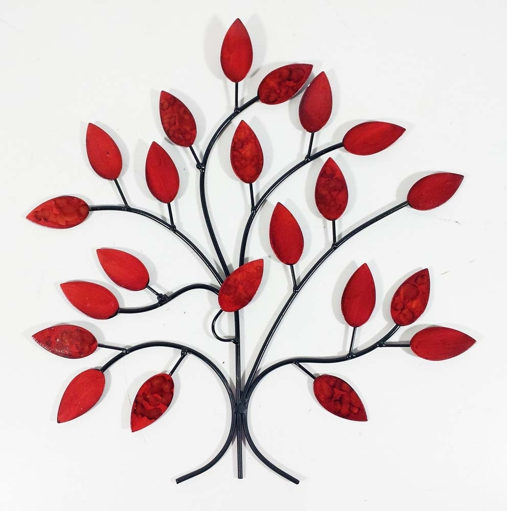 Metal Flower Wall Art Red Color – Almosthomebb Throughout Metal Flower Wall Art (View 8 of 20)
