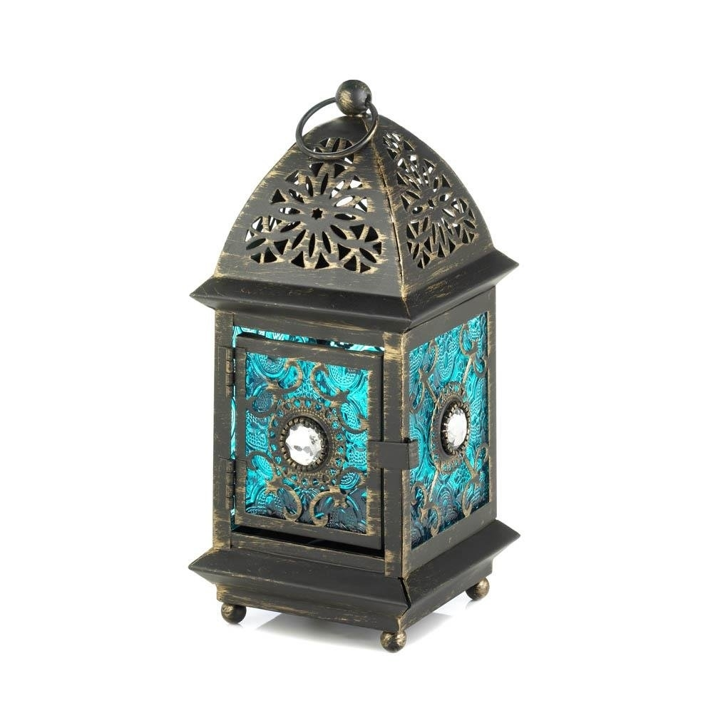 Metal Lanterns Jeweled Blue Decorative Floor Patio Portable Lantern with regard to Blue Outdoor Lanterns (Image 15 of 20)