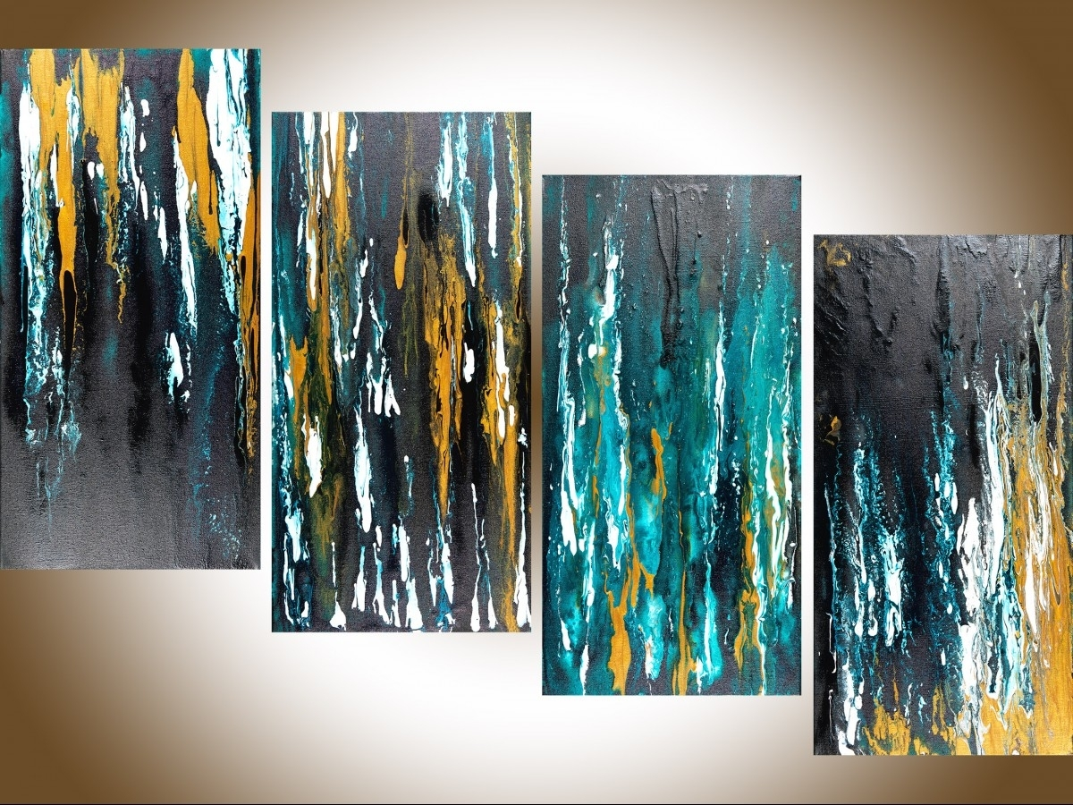 "Meteor Shower Iiqiqigallery 48""x24"" Original Modern Abstract inside Modern Abstract Painting Wall Art (Image 16 of 20)"