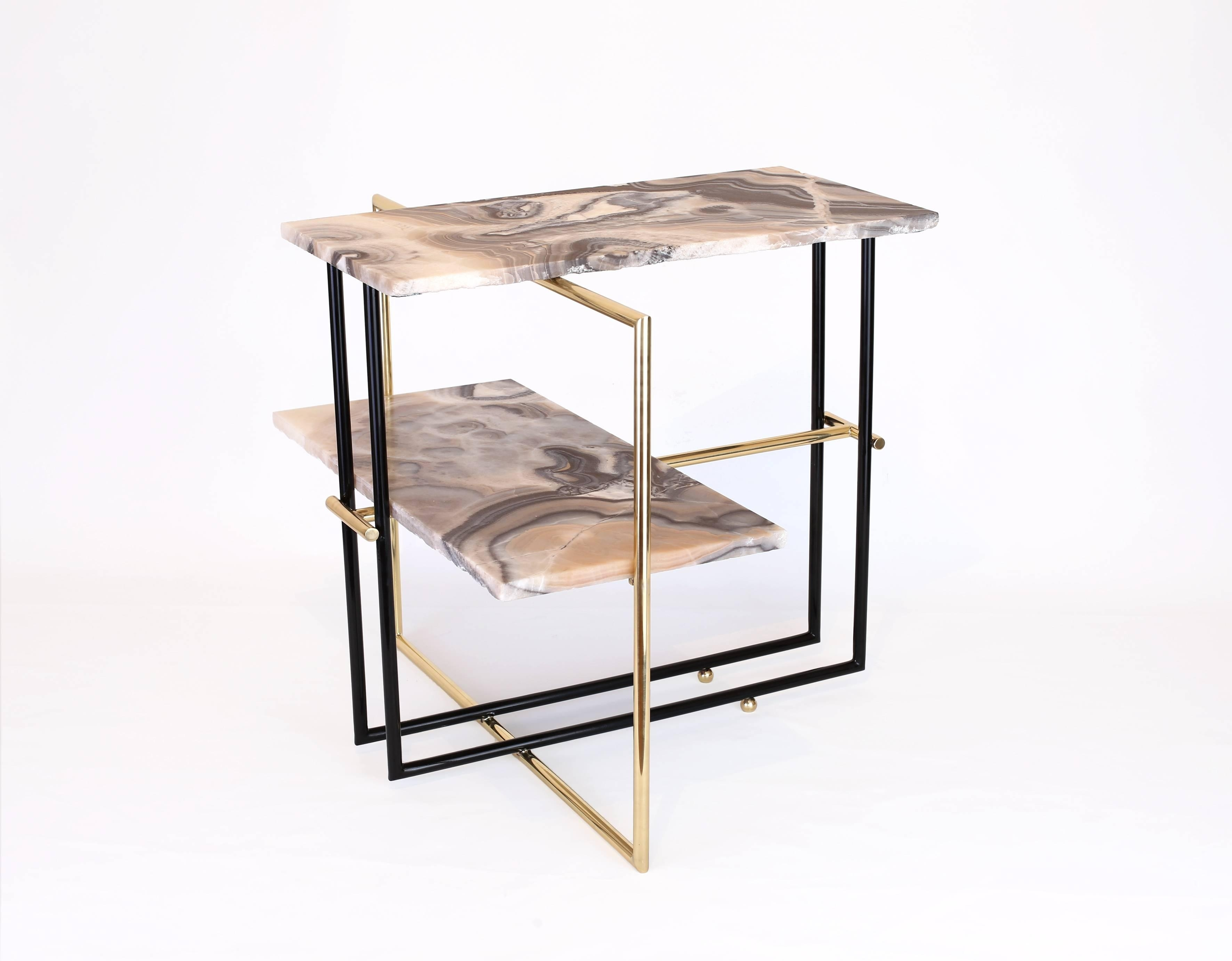 Mexican Onyx Stone And Brass Uña Side Coffee Table Designnomade inside Casbah Coffee-Side Tables (Image 21 of 30)