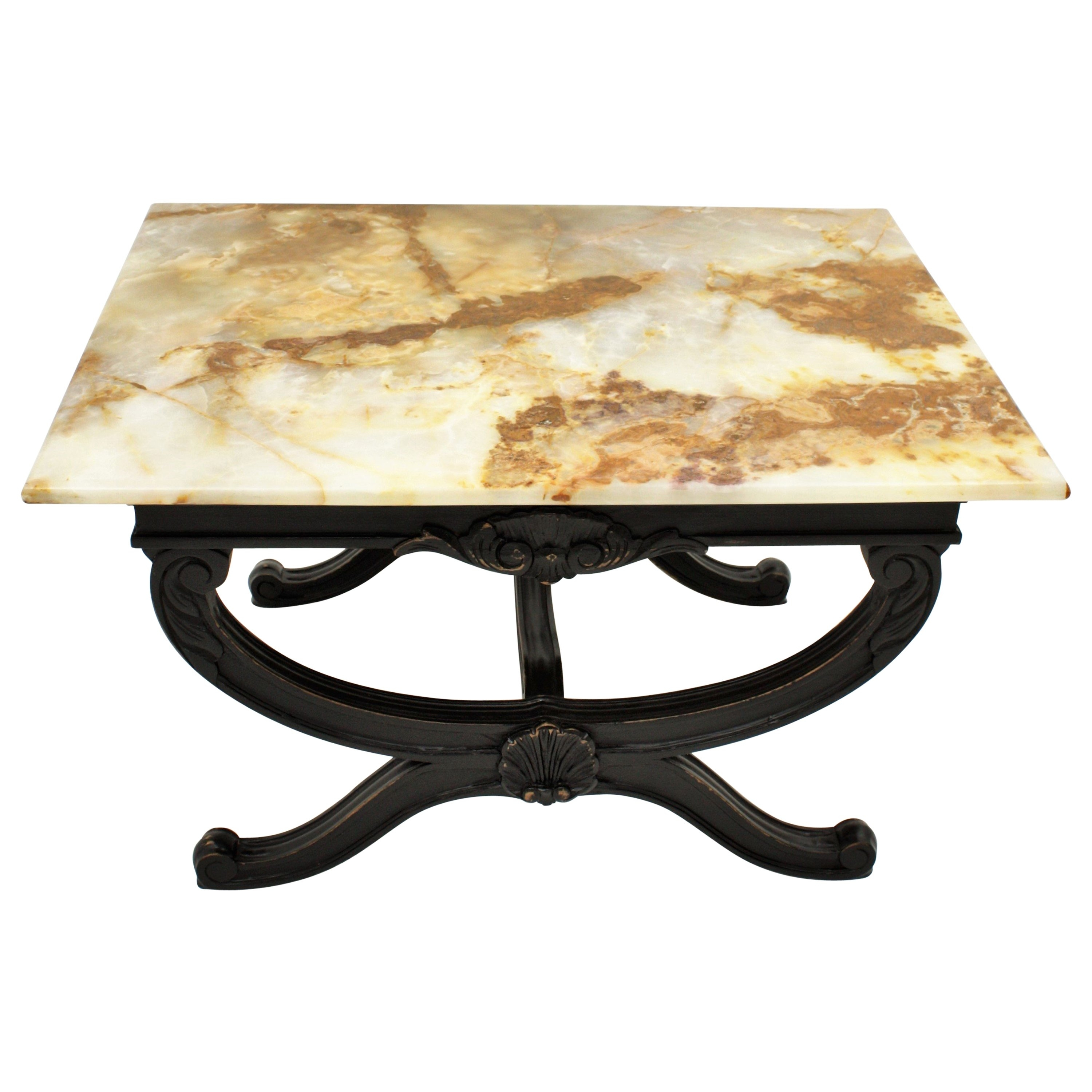Mexican Onyx Stone And Brass Uña Side Coffee Table Designnomade pertaining to Casbah Coffee-Side Tables (Image 22 of 30)