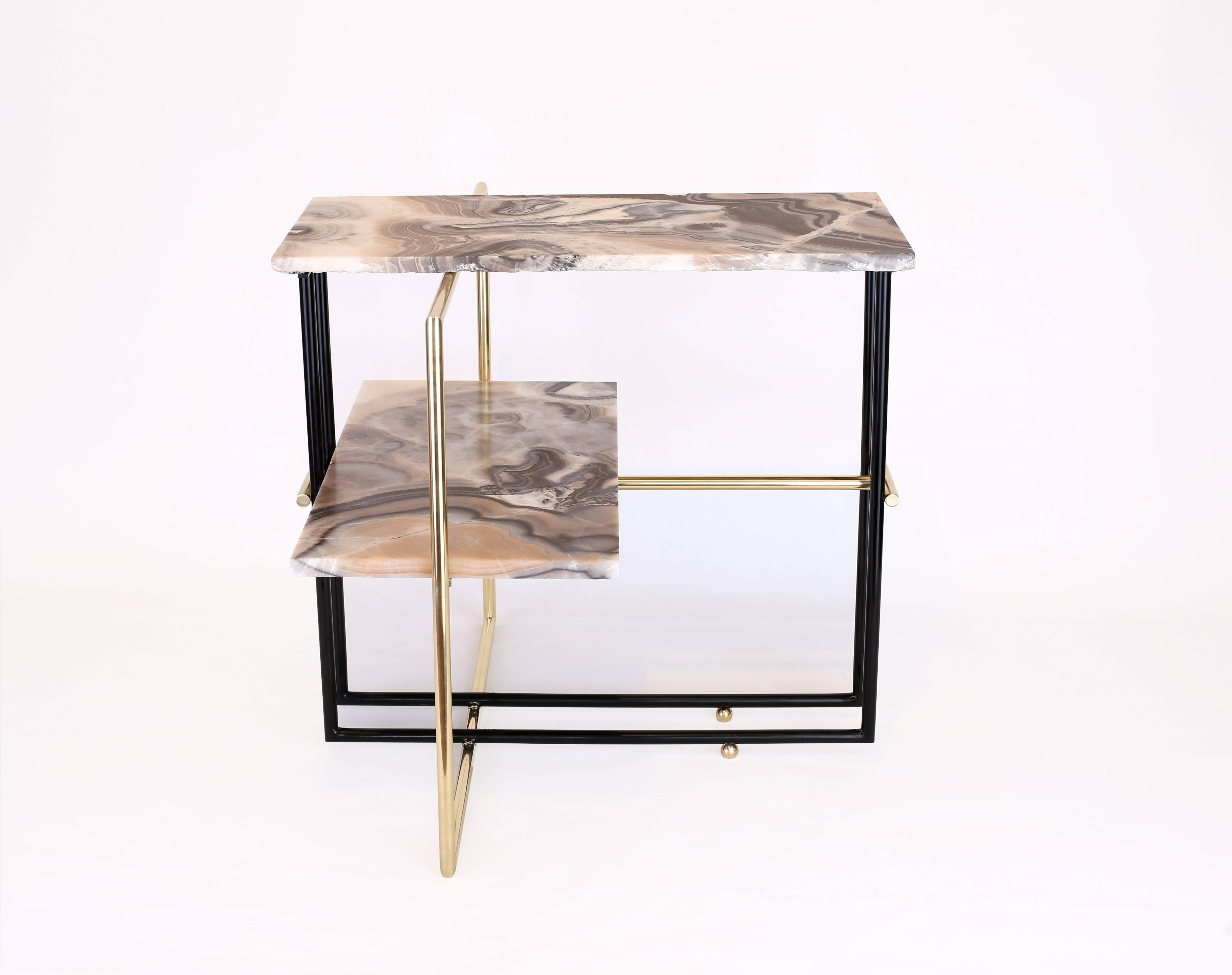 Mexican Onyx Stone And Brass Uña Side Coffee Table Designnomade regarding Casbah Coffee-Side Tables (Image 23 of 30)
