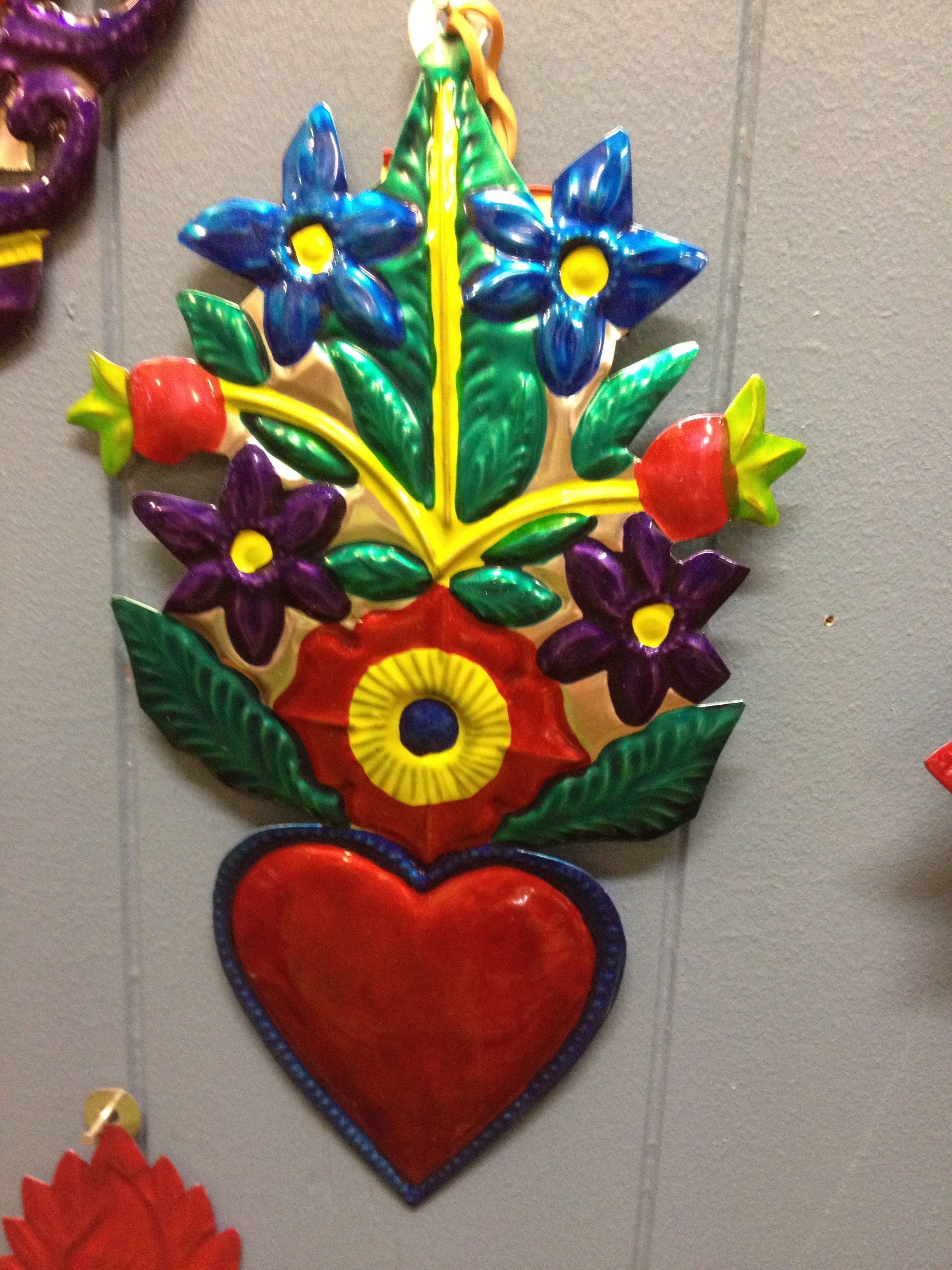 Mexican Tin Wall Art - Red Heart With Colourful Flowers.   Milagros throughout Tin Wall Art (Image 8 of 20)