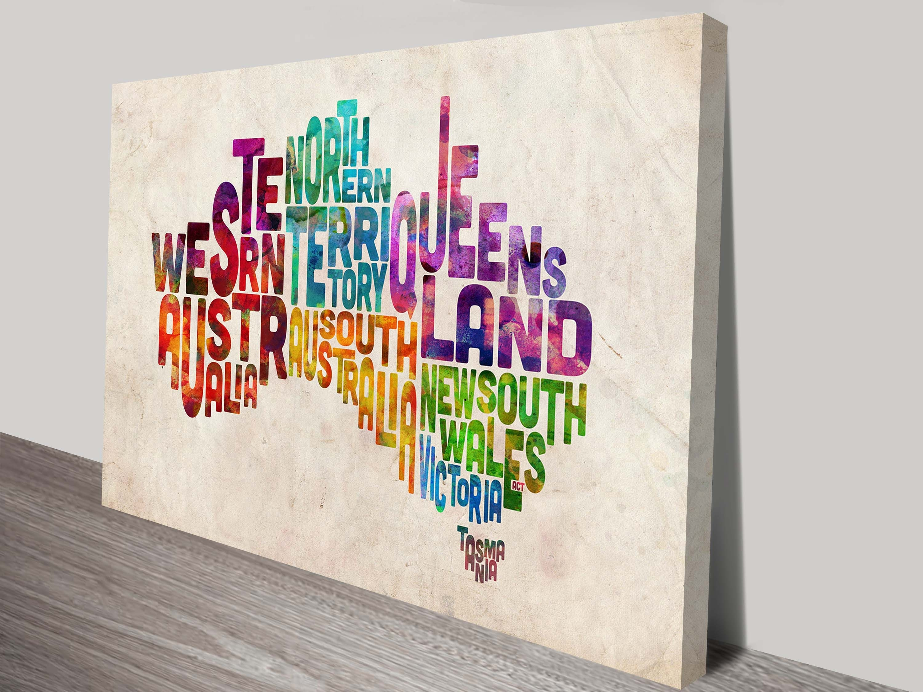 Michael Tompsett Art Prints | Typographic Text Map Of Australia with Map Wall Art Prints (Image 8 of 20)