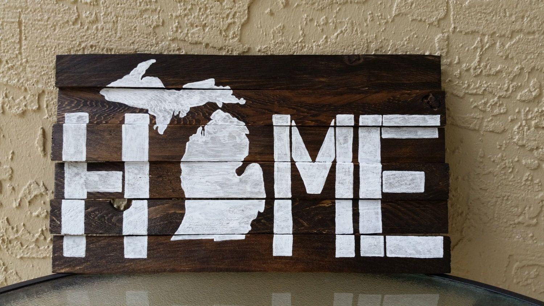 Michigan Wall Art - Cedar Plank Art - Wood Shim Art - Michigan Home intended for Michigan Wall Art (Image 9 of 20)