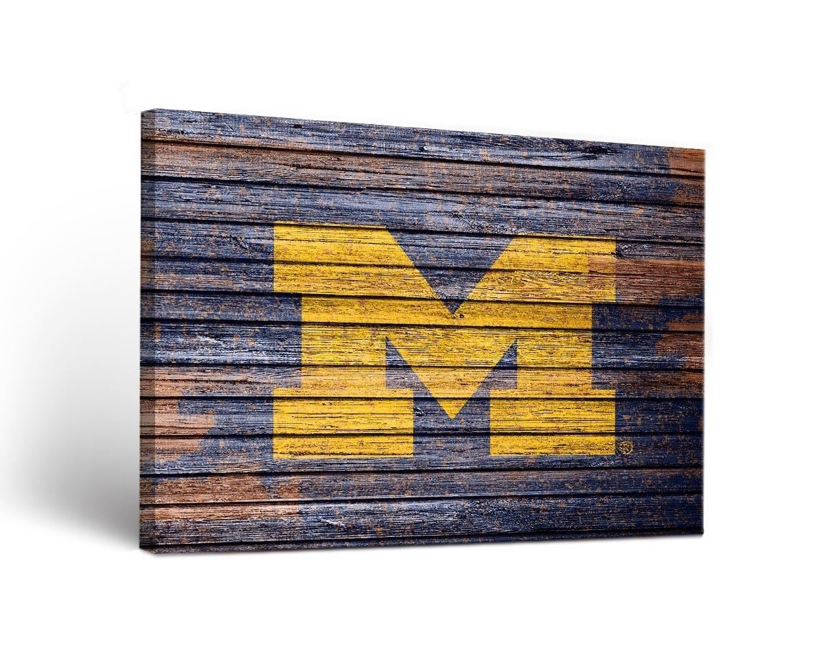 Michigan Wolverines Weathered Canvas Wall Art with Michigan Wall Art (Image 12 of 20)