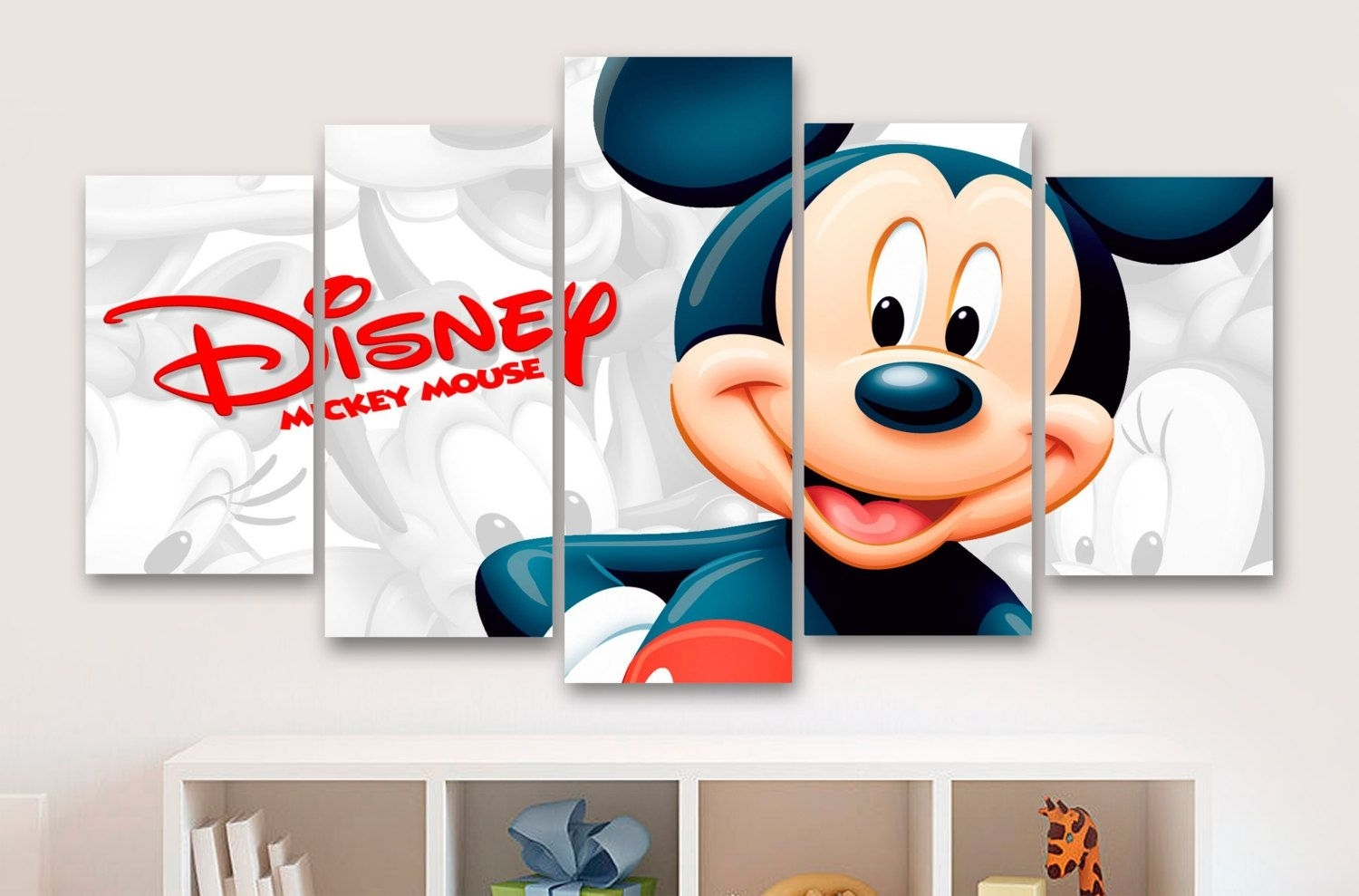 Mickey Mouse 5 Panel / Piece Canvas - Wall Art - Office - Bedroom throughout Mickey Mouse Canvas Wall Art (Image 13 of 20)