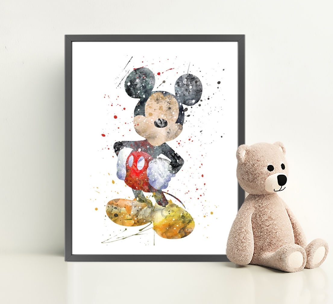 Mickey Mouse Disney Print Poster Watercolour Framed Canvas Wall Art within Mickey Mouse Canvas Wall Art (Image 18 of 20)