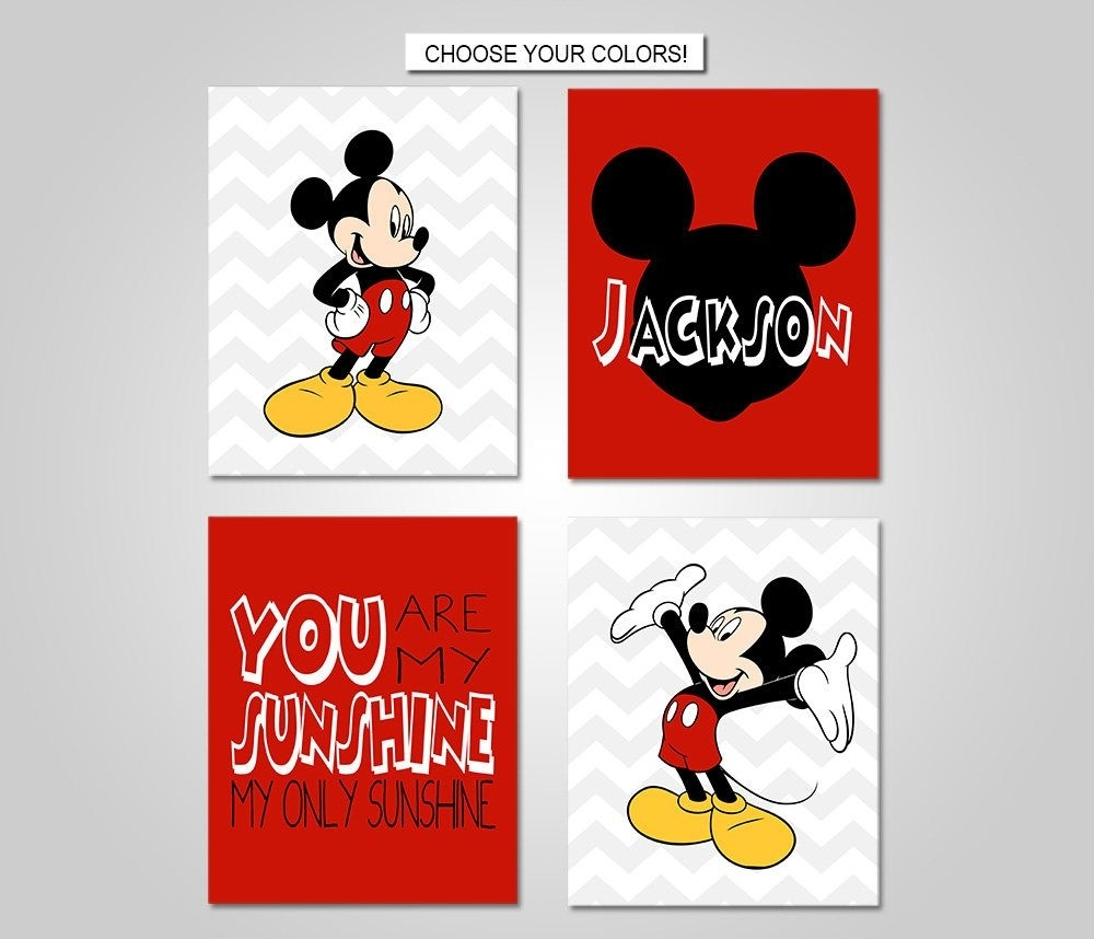 Mickey Mouse Nursery Bedroom Wall Art - Mickey Mouse Wall Decor regarding Mickey Mouse Canvas Wall Art (Image 19 of 20)