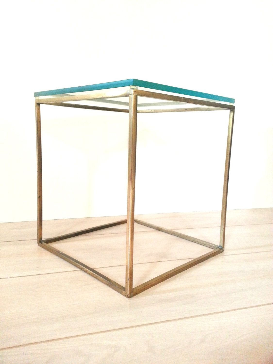 Mid Century Brass / Glass Cube Table ~ Side Table ~ End Table ~Plant pertaining to Brass Iron Cube Tables (Image 22 of 30)