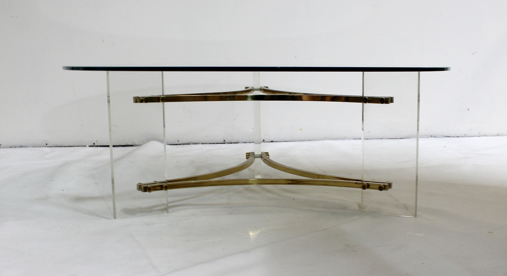 Mid-Century Brushed Brass And Acrylic Coffee Tablecharles Hollis within Acrylic & Brushed Brass Coffee Tables (Image 15 of 20)