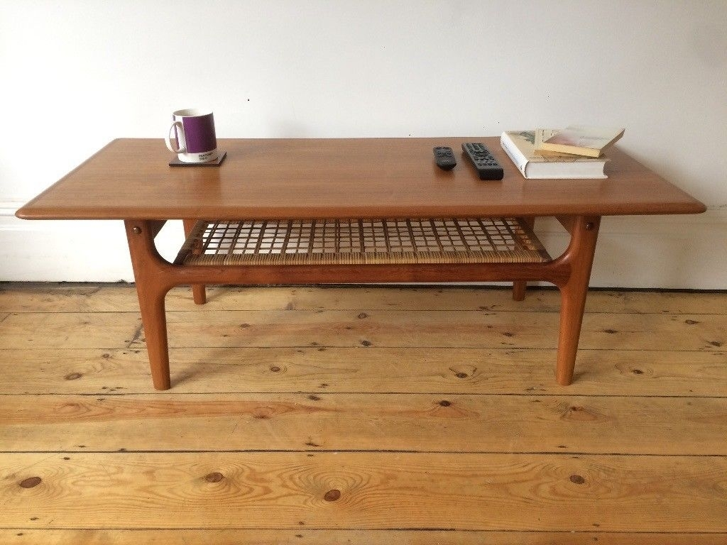 Mid Century Danish Trioh Large Teak Coffee Table With Rattan Shelf intended for Large Teak Coffee Tables (Image 20 of 30)