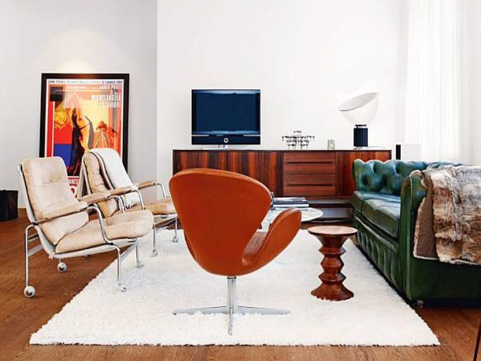 Mid Century Modern Ideas Installed Living Room Wooden Table Carpet pertaining to Mid-Century Modern Egg Tables (Image 10 of 30)