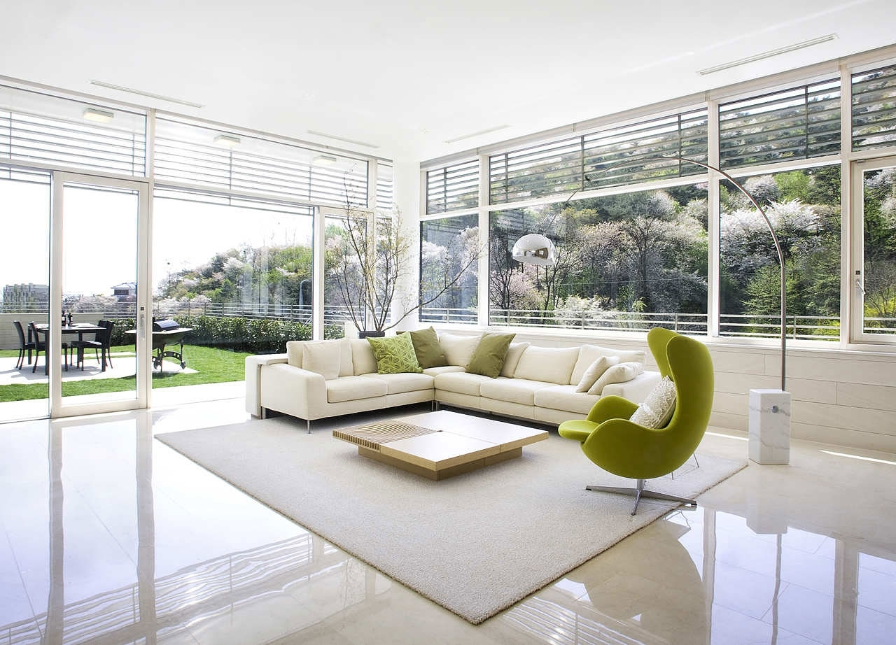 Mid Century Modern Living Room With Large Glass Wall Design And within Mid-Century Modern Egg Tables (Image 11 of 30)