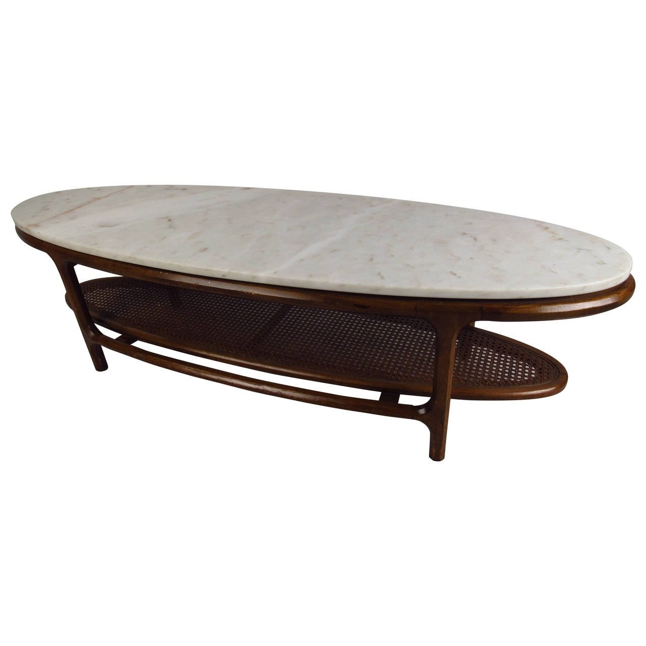 Mid-Century Modern Marble-Top Coffee Table With Cane Shelf For Sale intended for Mid-Century Modern Marble Coffee Tables (Image 24 of 30)