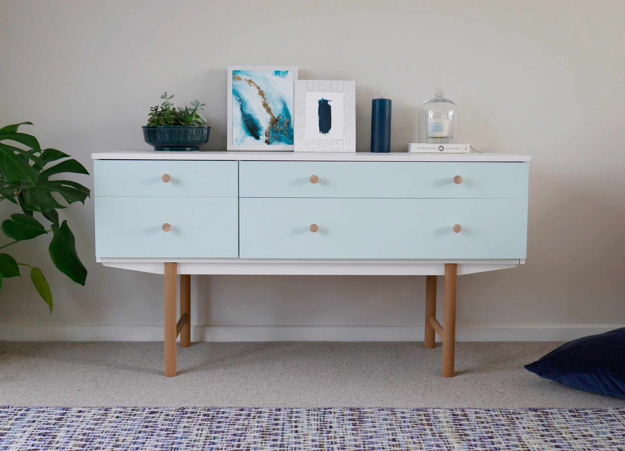 Mid Century Modern Sideboard Drawers Painted White & Duck Egg Blue Regarding Mid Century Modern Egg Tables (View 17 of 30)