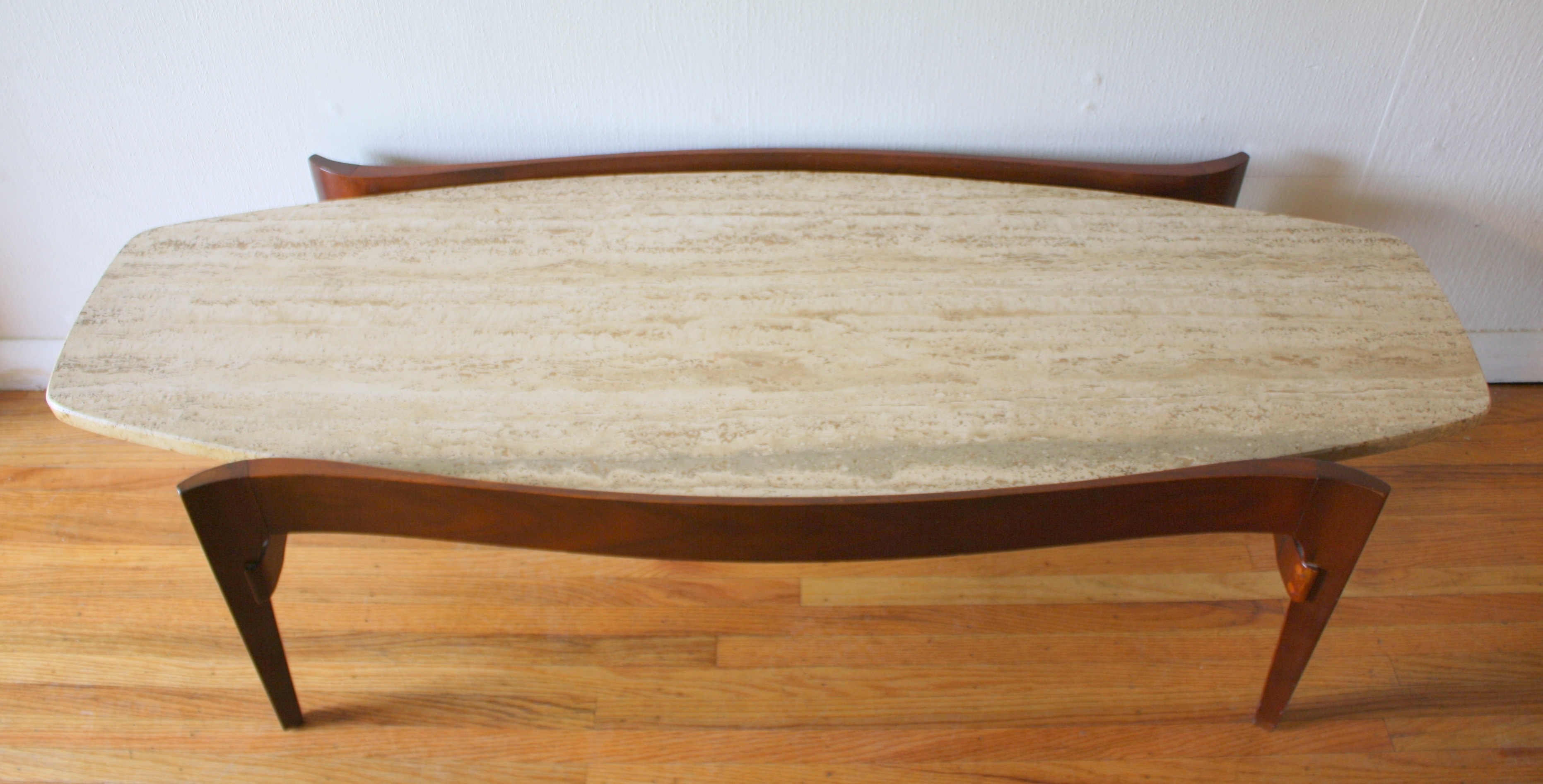 Mid Century Modern Surfboard Coffee Table With Floating Marble Top within Mid-Century Modern Marble Coffee Tables (Image 17 of 30)