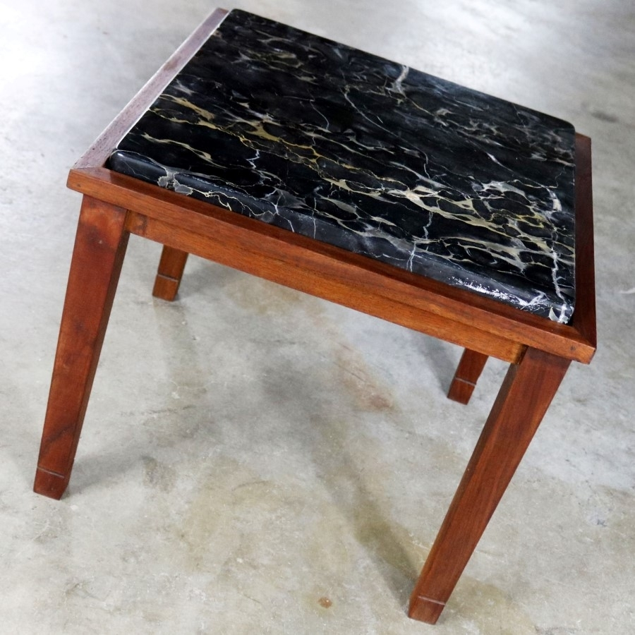 Mid Century Modern Walnut And Black Marble Square End Or Side Table - in Mid-Century Modern Marble Coffee Tables (Image 18 of 30)